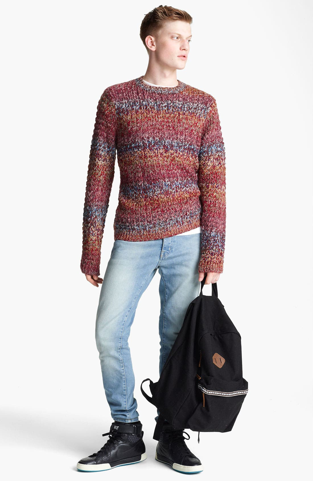 Alternate Image 4  - Topman Ombré Knit Crewneck Sweater