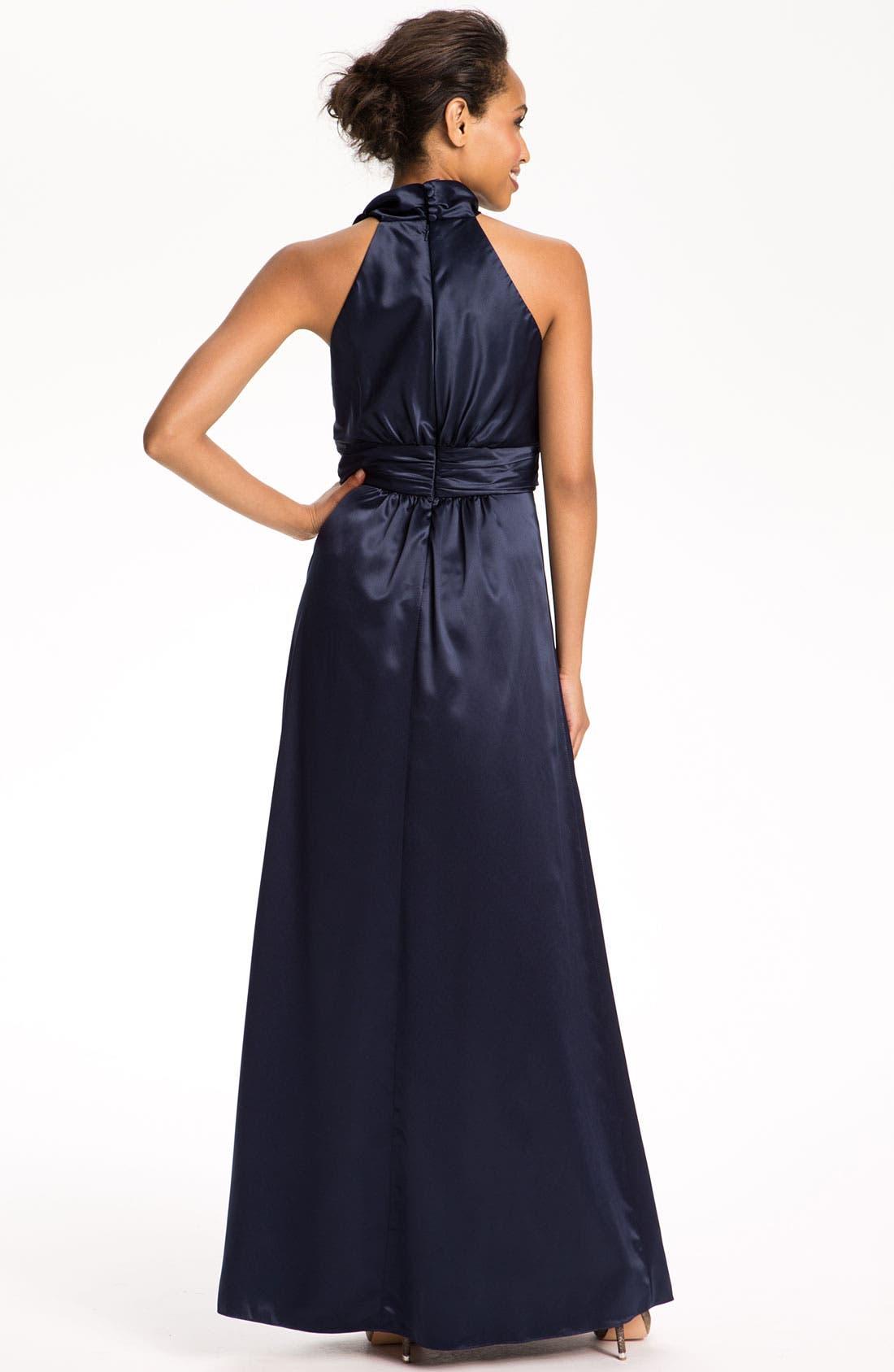 Alternate Image 2  - Amsale Tie Neck Satin A-Line Gown