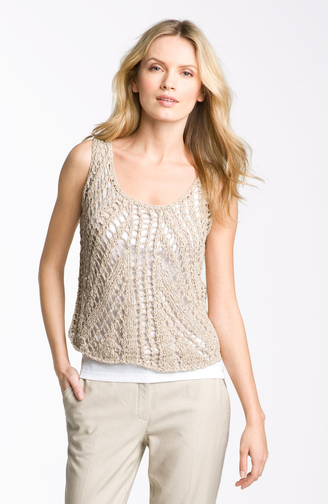 Alternate Image 1 Selected - Eileen Fisher Open Stitch Tank (Petite)