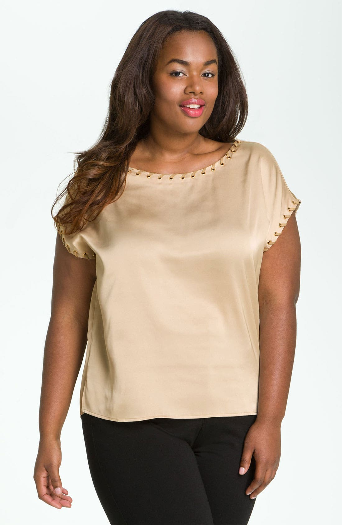 Alternate Image 1 Selected - Vince Camuto Grommet Trim Top (Plus)