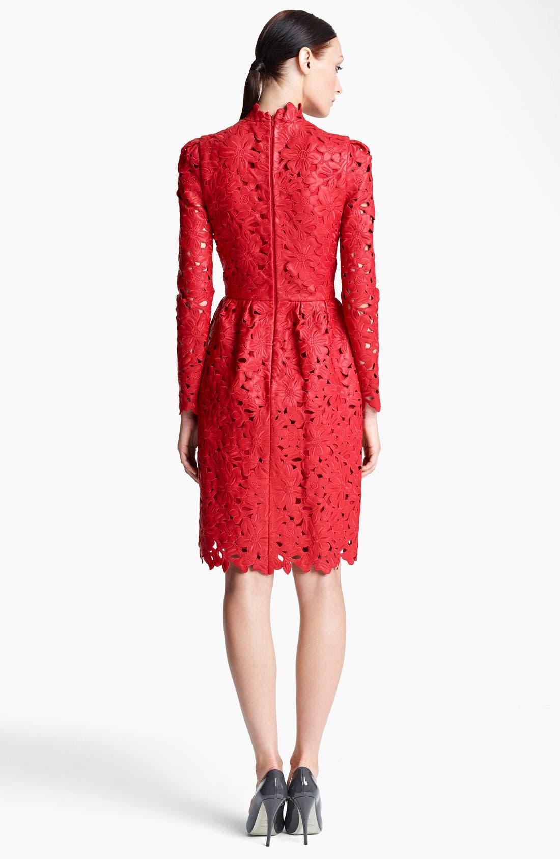 Alternate Image 2  - Valentino Laser Cut Leather Dress