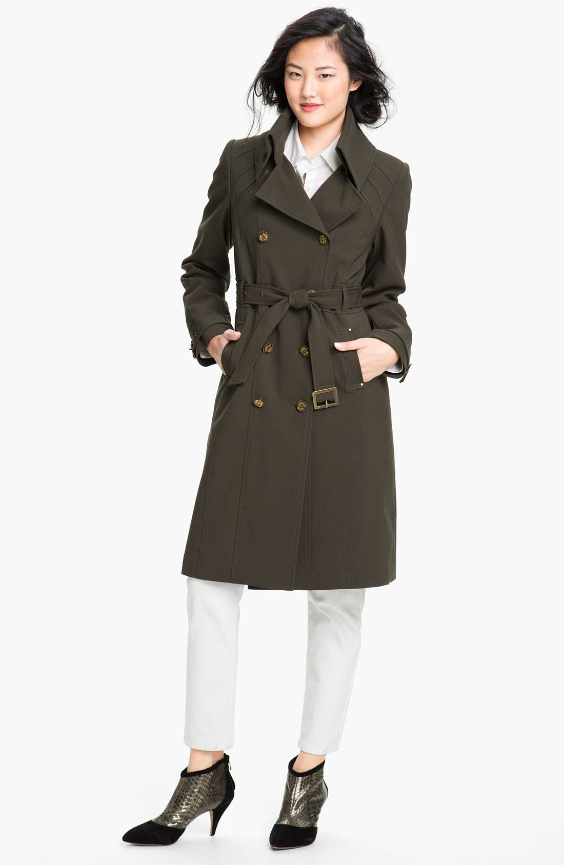 Main Image - Kristen Blake Double Breasted Trench Coat