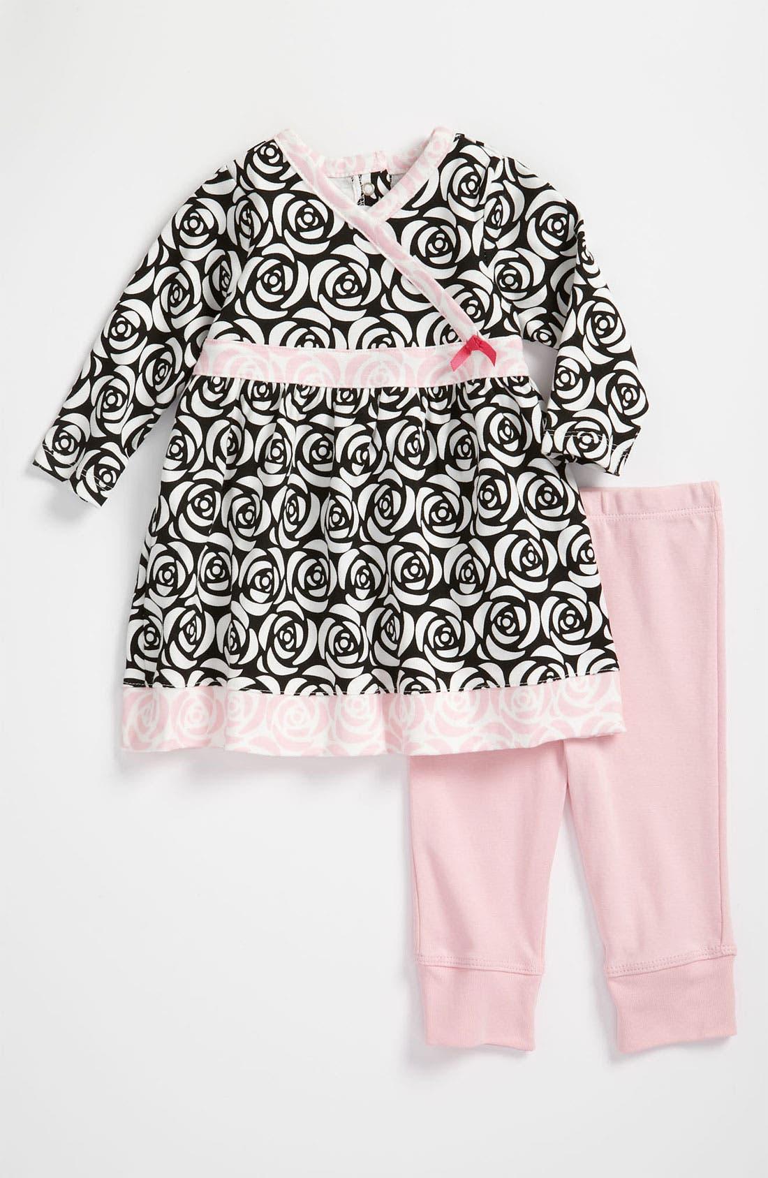'Rosette' Dress & Leggings,                         Main,                         color, Black Multi