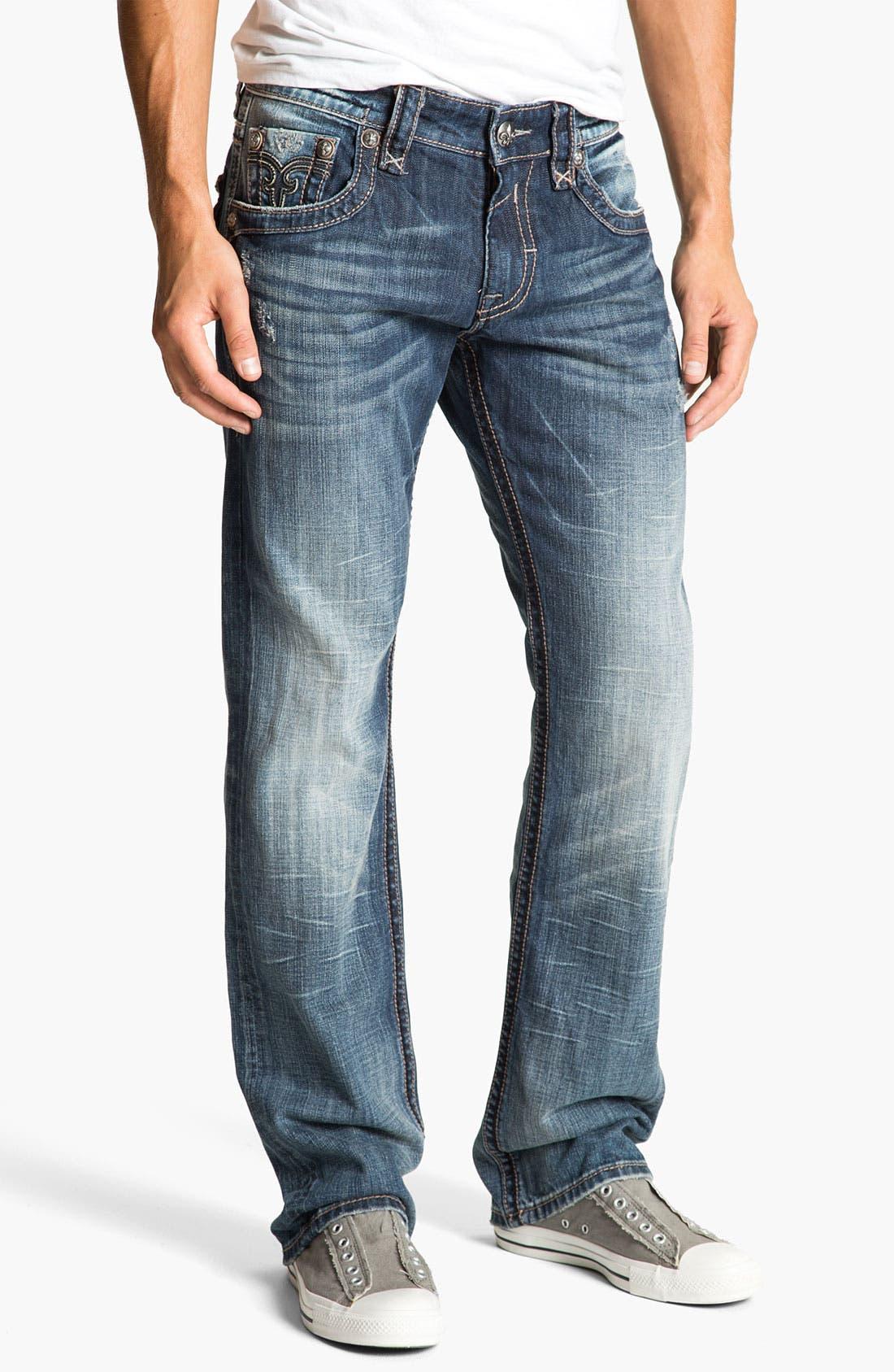 Alternate Image 2  - Rock Revival 'Chopper' Straight Leg Jeans (Vintage Blue)