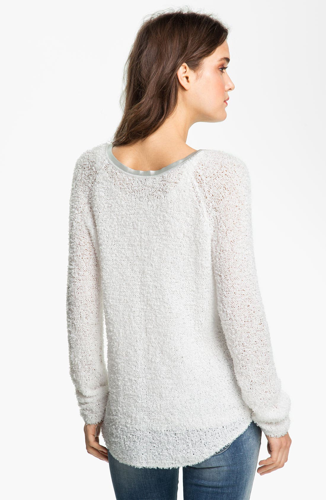 Alternate Image 2  - Hinge® Sweater with Faux-Leather Trim