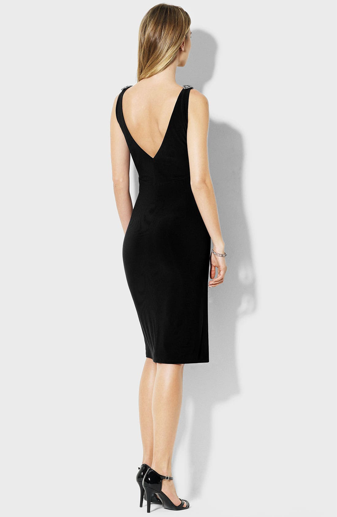Alternate Image 2  - Lauren Ralph Lauren V-Back Jersey Sheath Dress