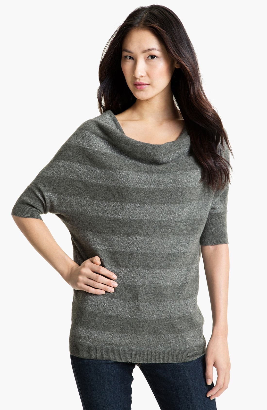 Alternate Image 1 Selected - Nordstrom Collection Shimmer Stripe Cashmere Blend Sweater
