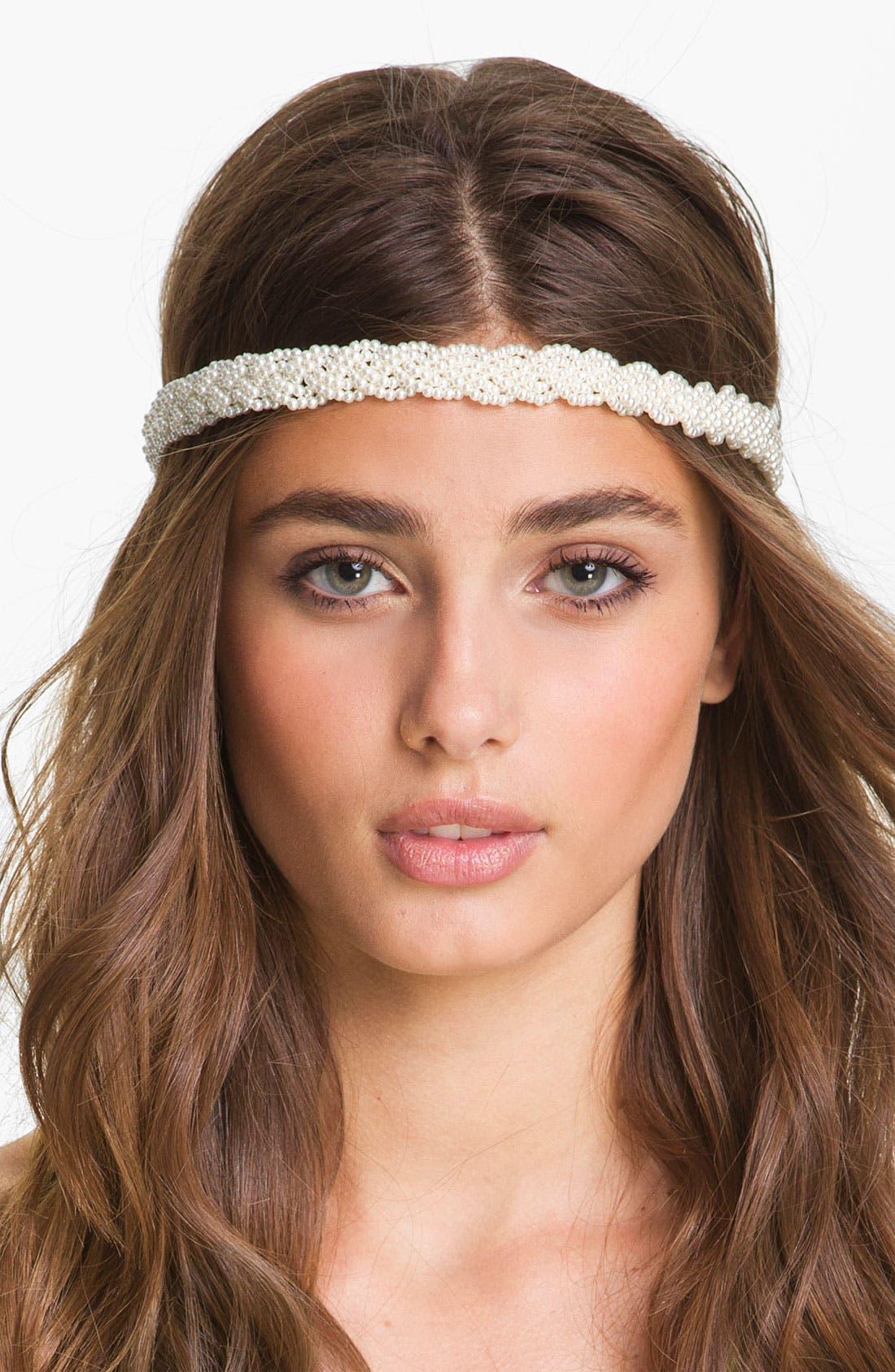 Main Image - Carole Braided Pearlized Bead Headband