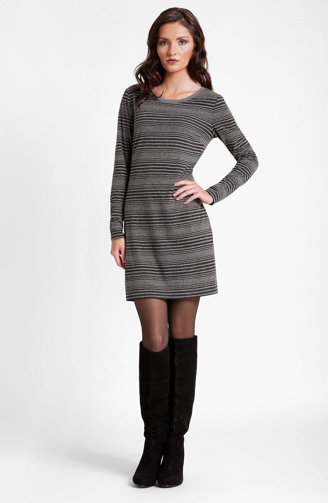 Alternate Image 1 Selected - Three Dots Long Sleeve Stripe Sweater Dress