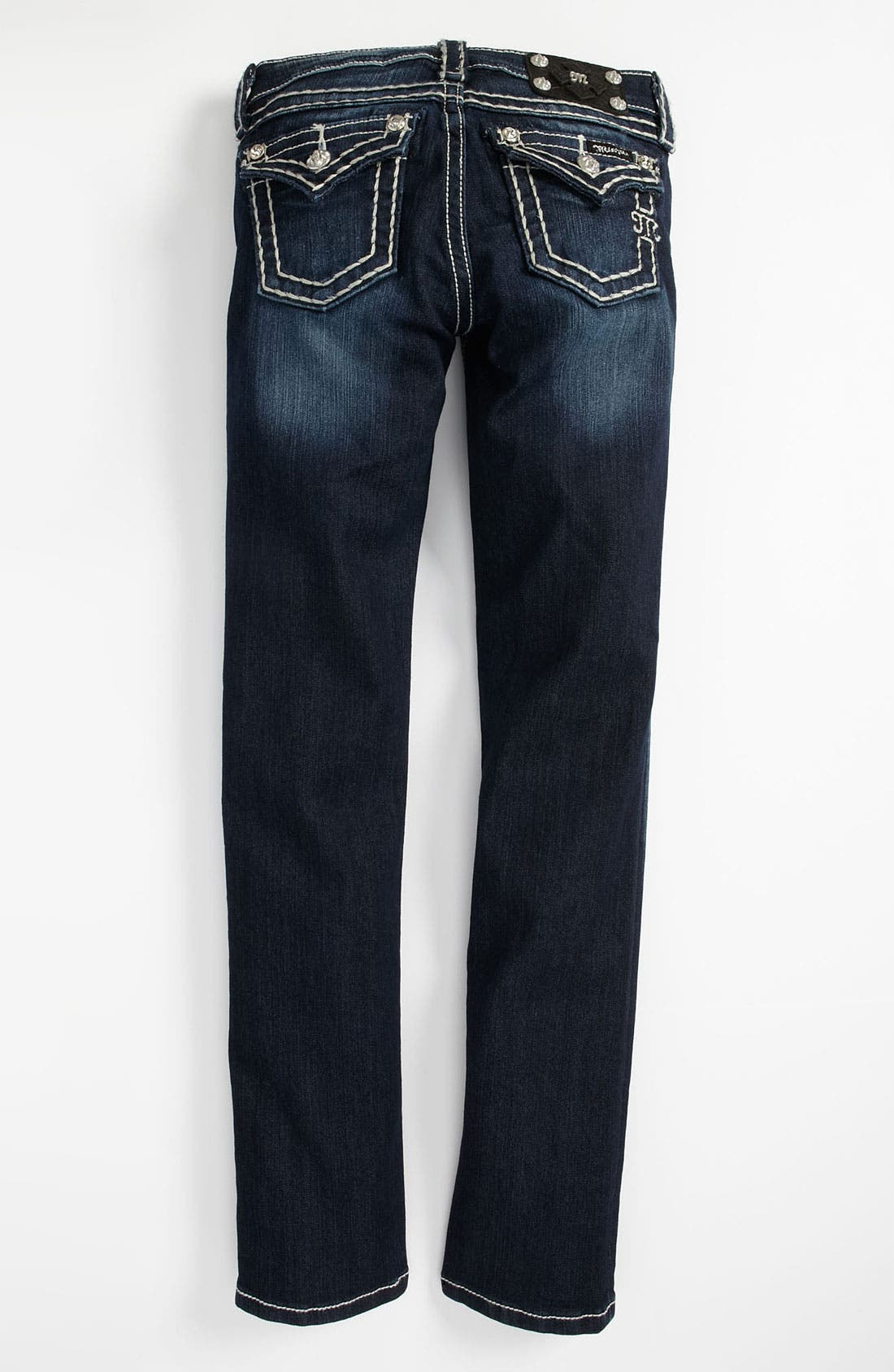 Main Image - Miss Me Whip Stitch Skinny Jeans (Big Girls)