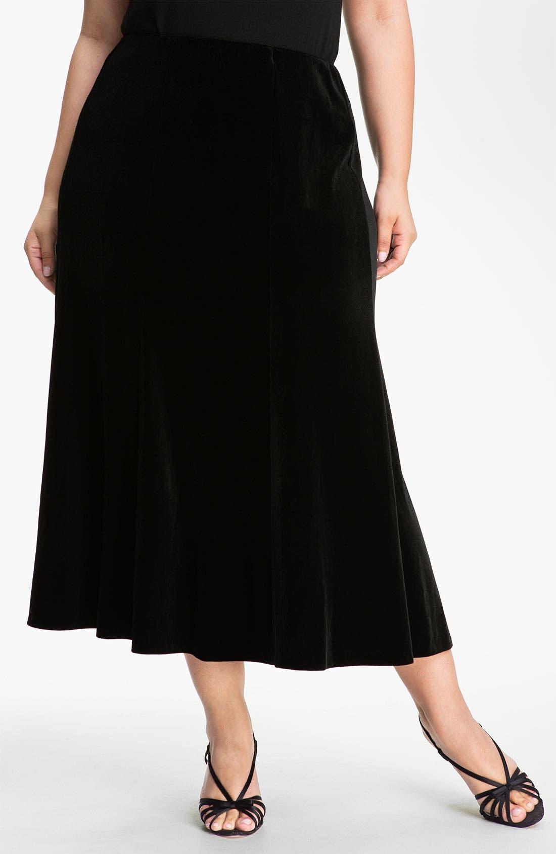 Main Image - Alex Evenings Velvet Skirt (Plus)