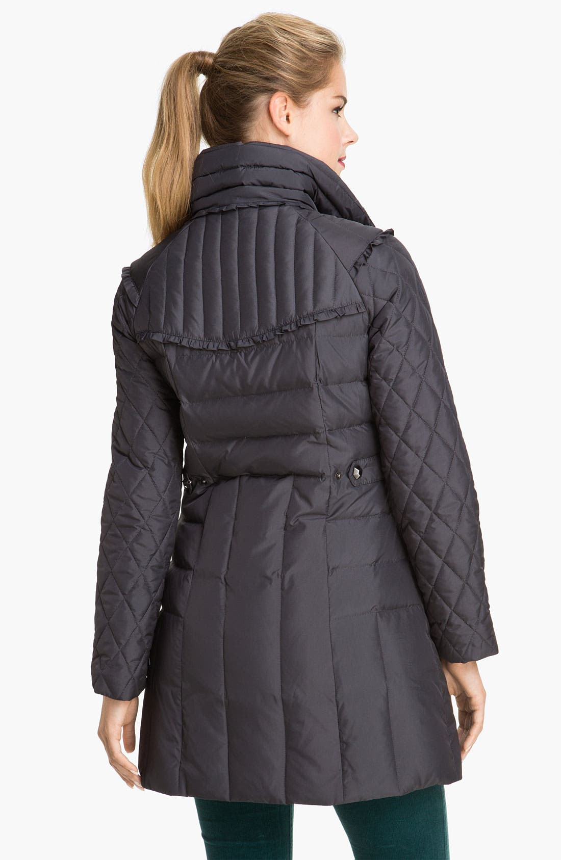 Alternate Image 2  - Betsey Johnson Stand Collar Quilted Walking Coat