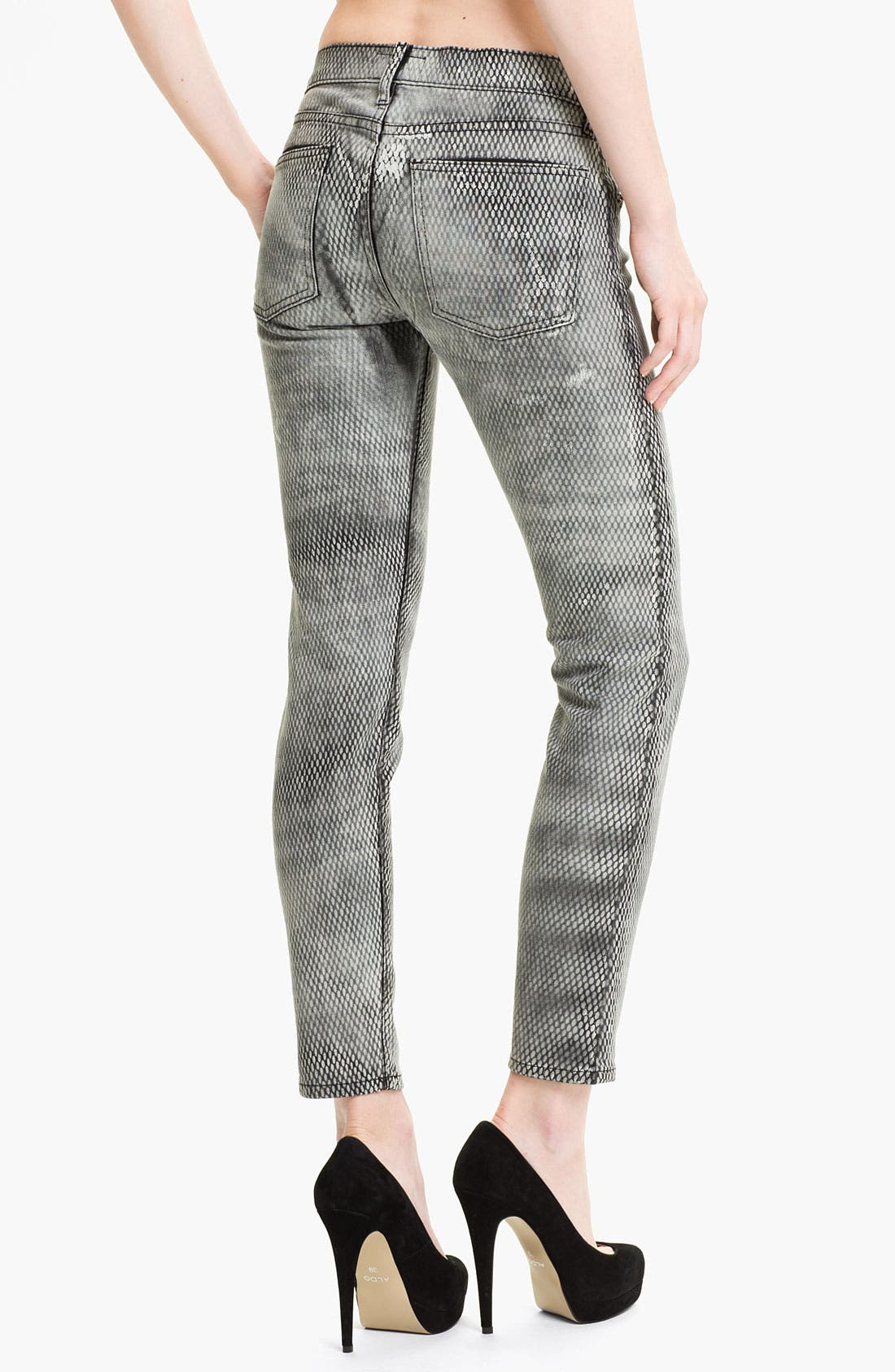 Alternate Image 2  - Current/Elliott Print Skinny Ankle Jeans (Mesh)