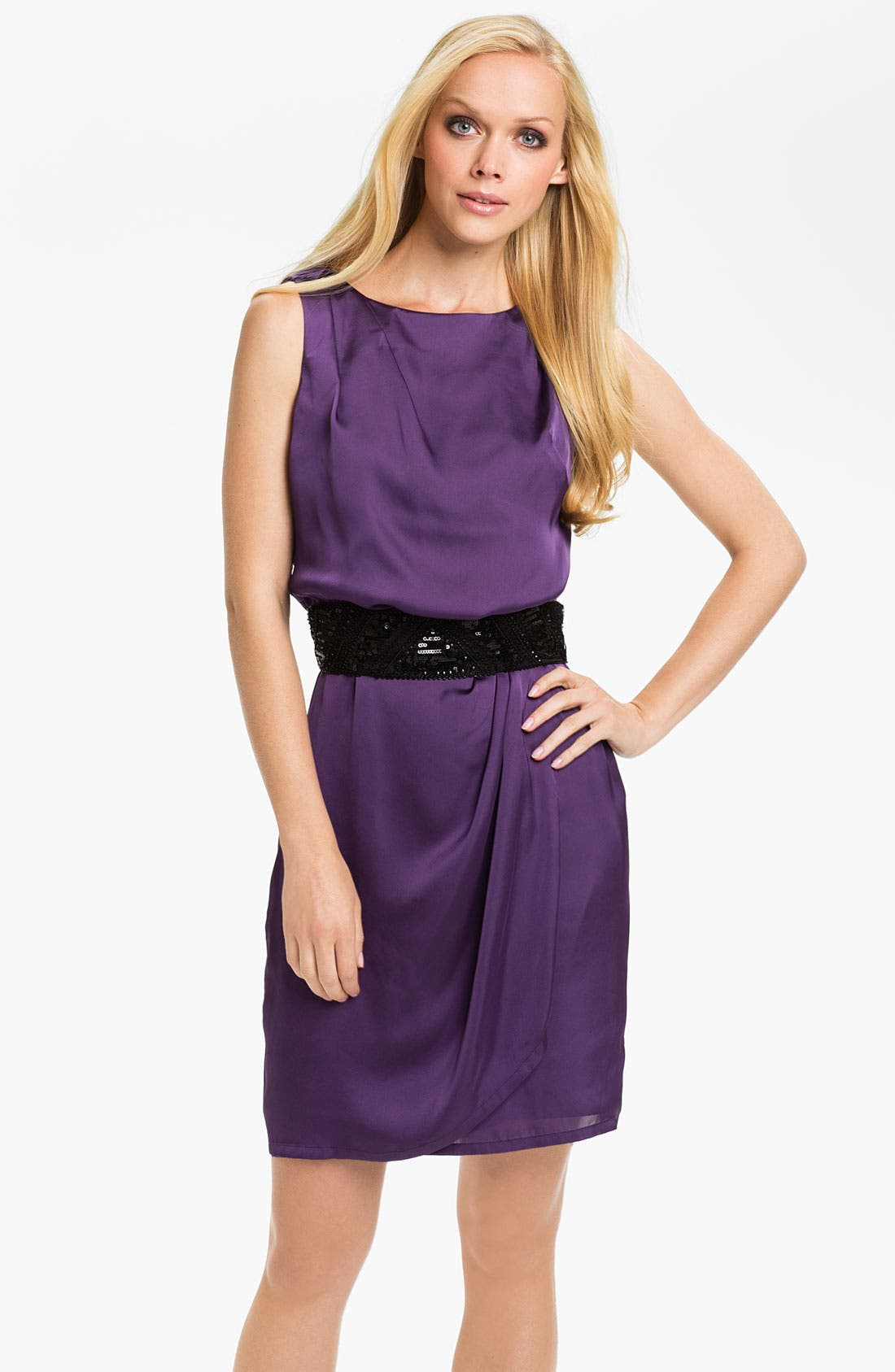Main Image - Vince Camuto Sequin Belted Charmeuse Dress