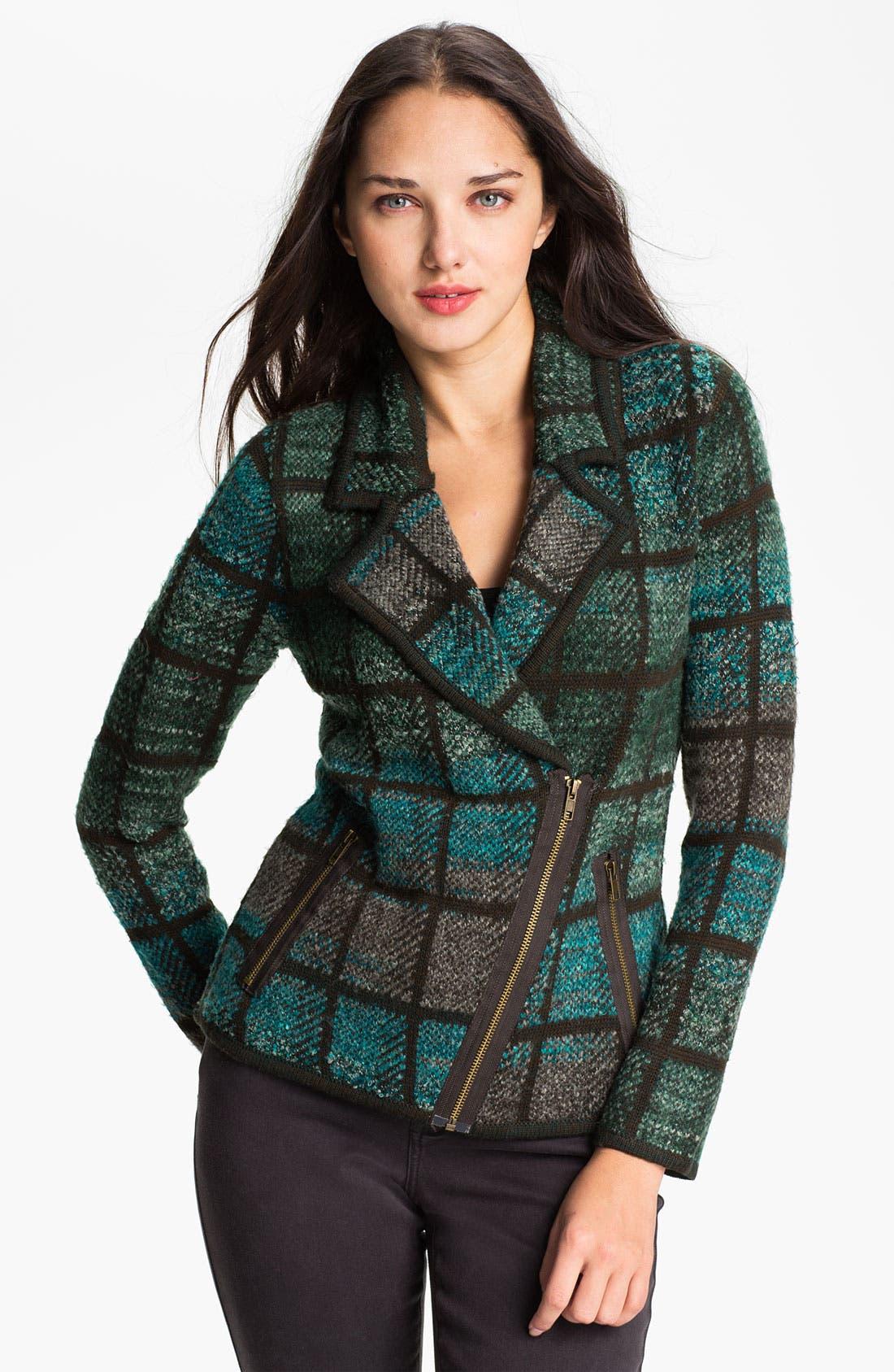Main Image - Curio Tweed Knit Moto Jacket