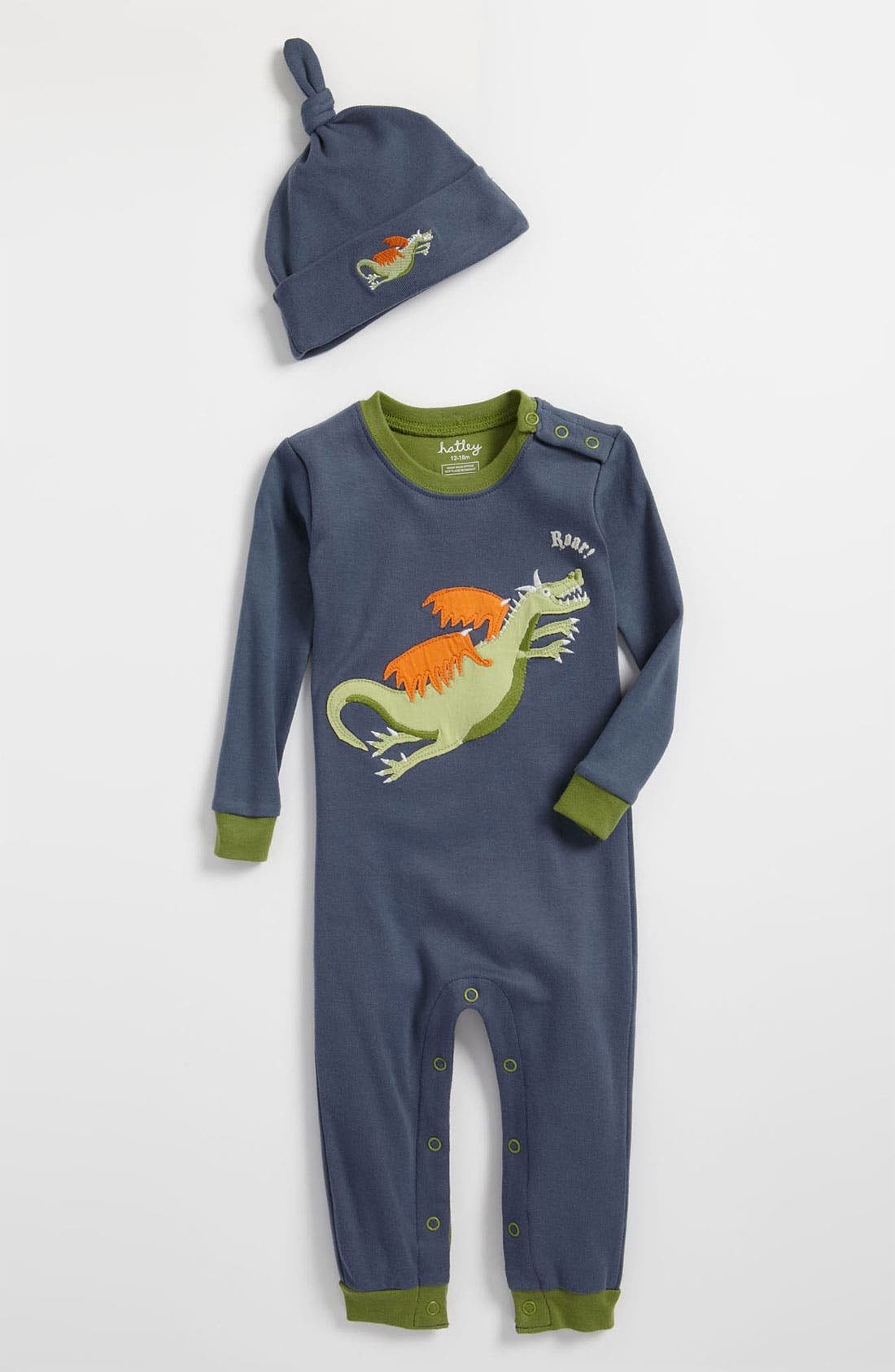 Alternate Image 1 Selected - Hatley Fitted Romper & Hat (Infant)