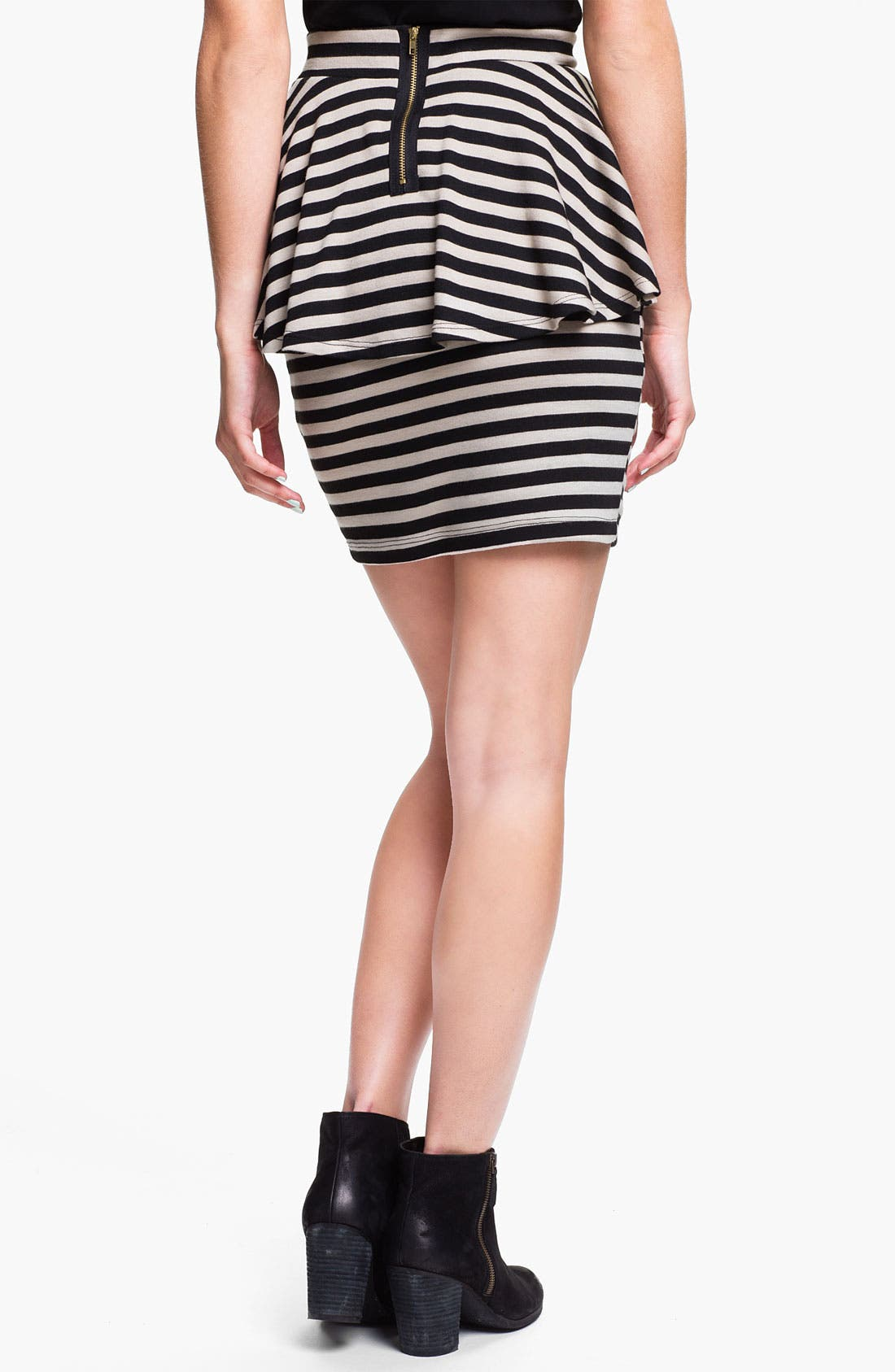 Alternate Image 2  - h.i.p. Stripe Peplum Skirt (Juniors)