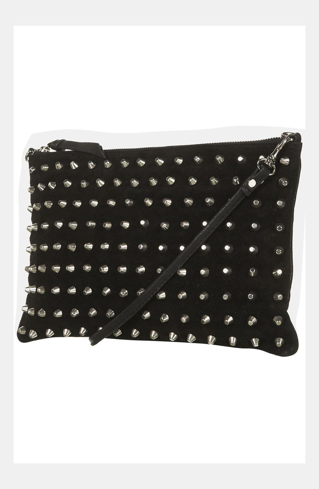 Alternate Image 1 Selected - Topshop Studded Suede Clutch