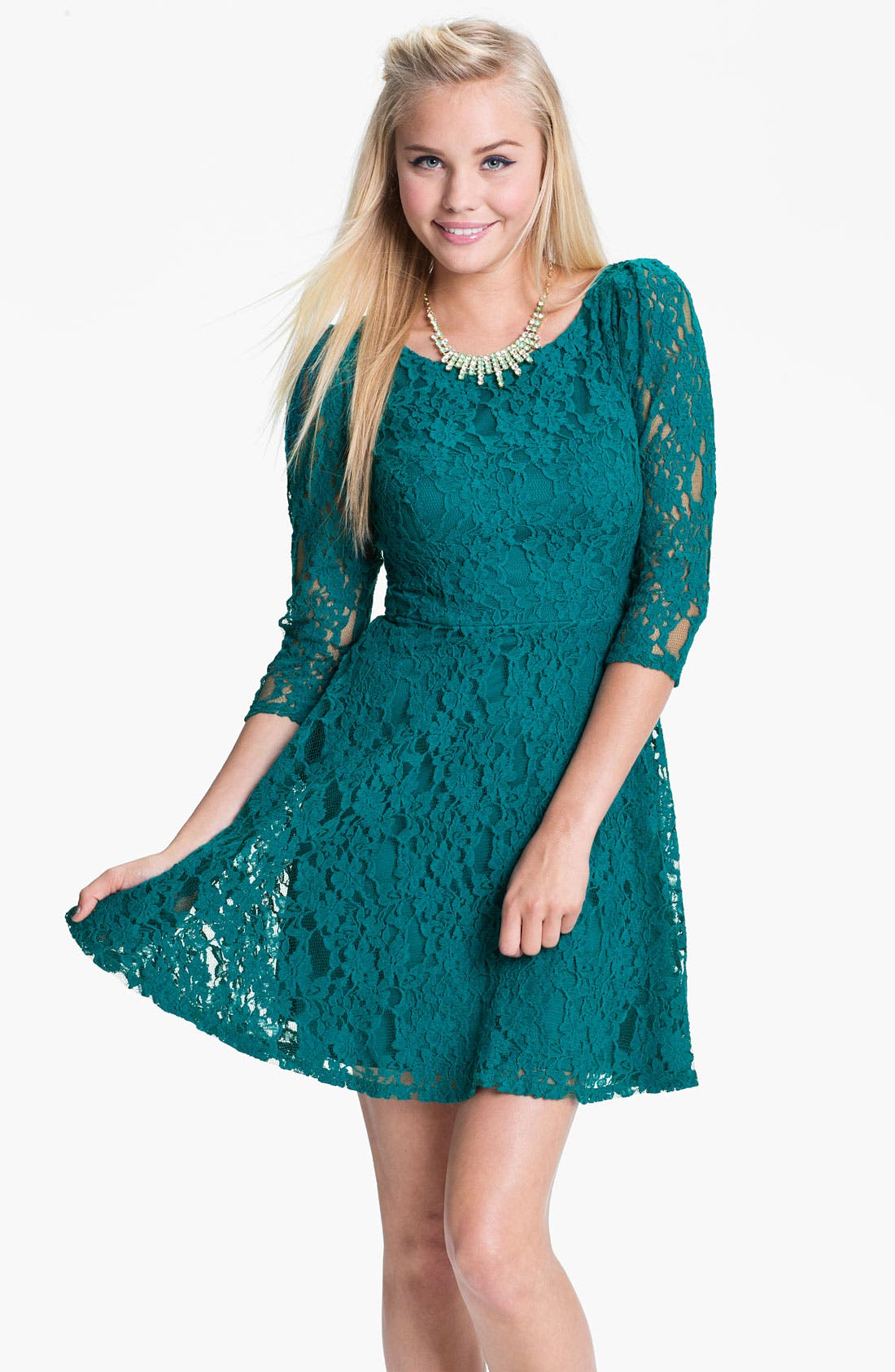 Main Image - Fire Lace Skater Dress (Juniors)