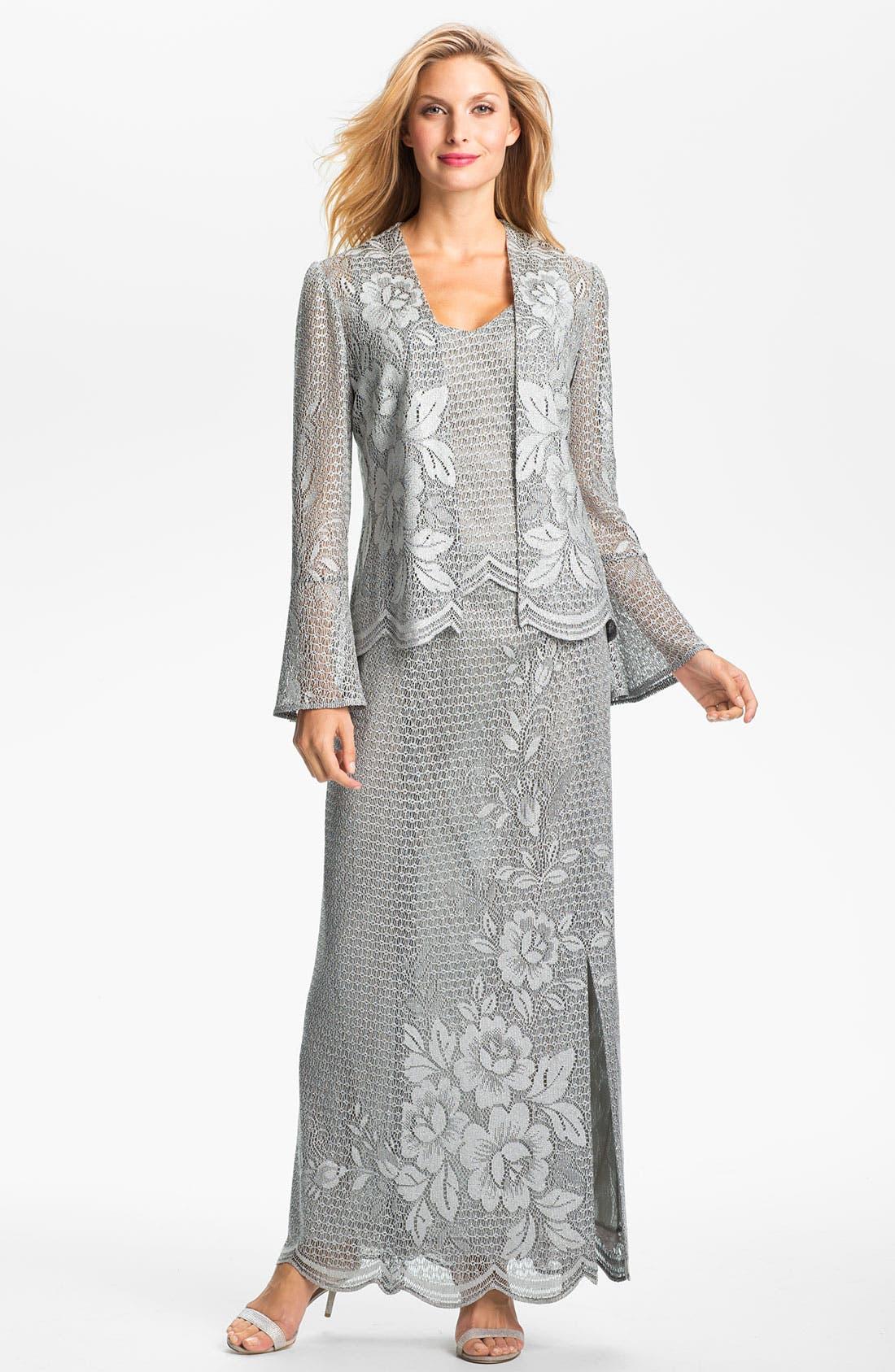 Main Image - Damianou Metallic Lace Tank, Skirt & Bell Cuff Jacket