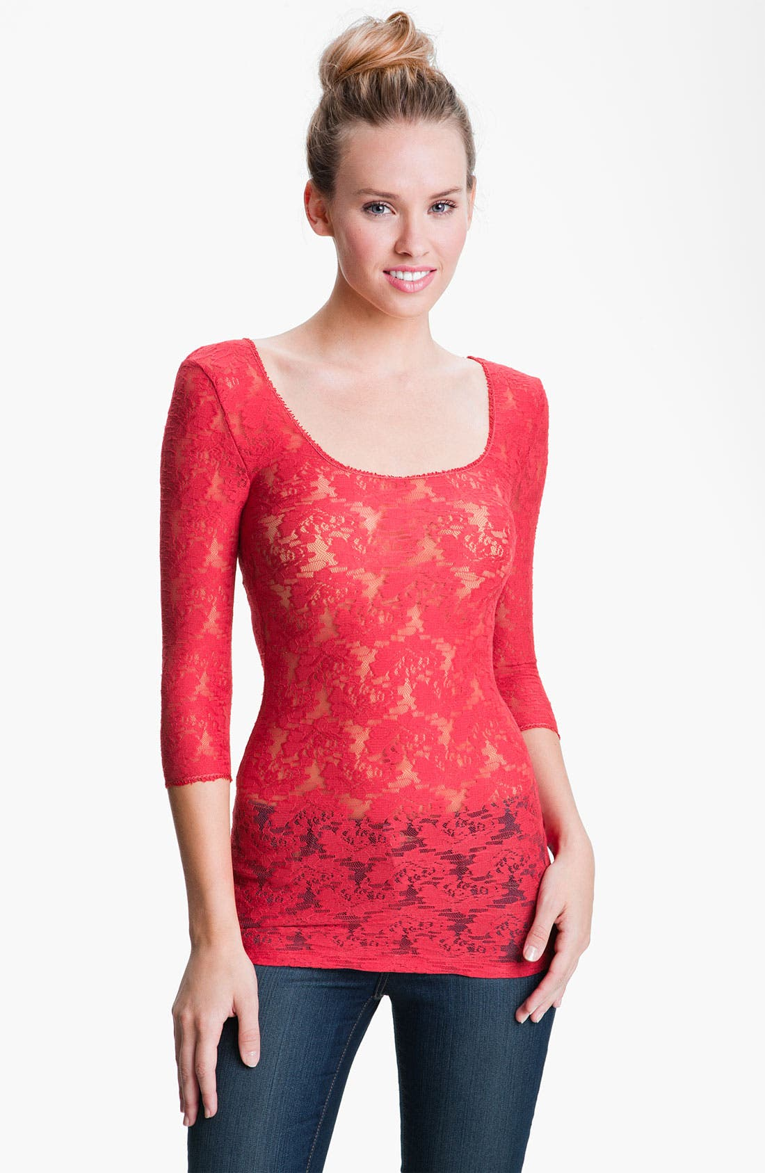 Alternate Image 1 Selected - Free People Sheer Stretch Lace Layering Top