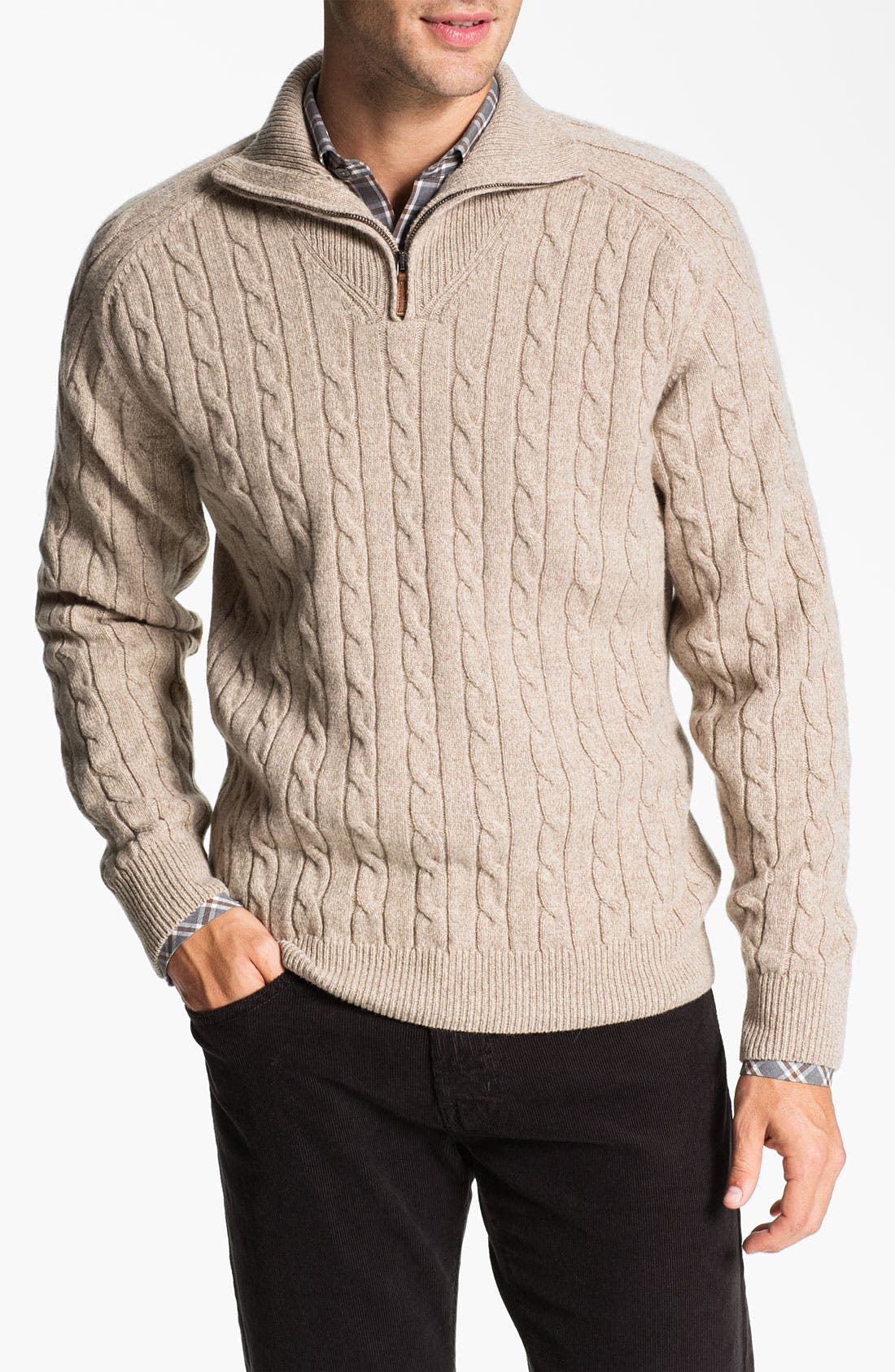 Alternate Image 1 Selected - Lora Gi Half Zip Wool & Cashmere Sweater