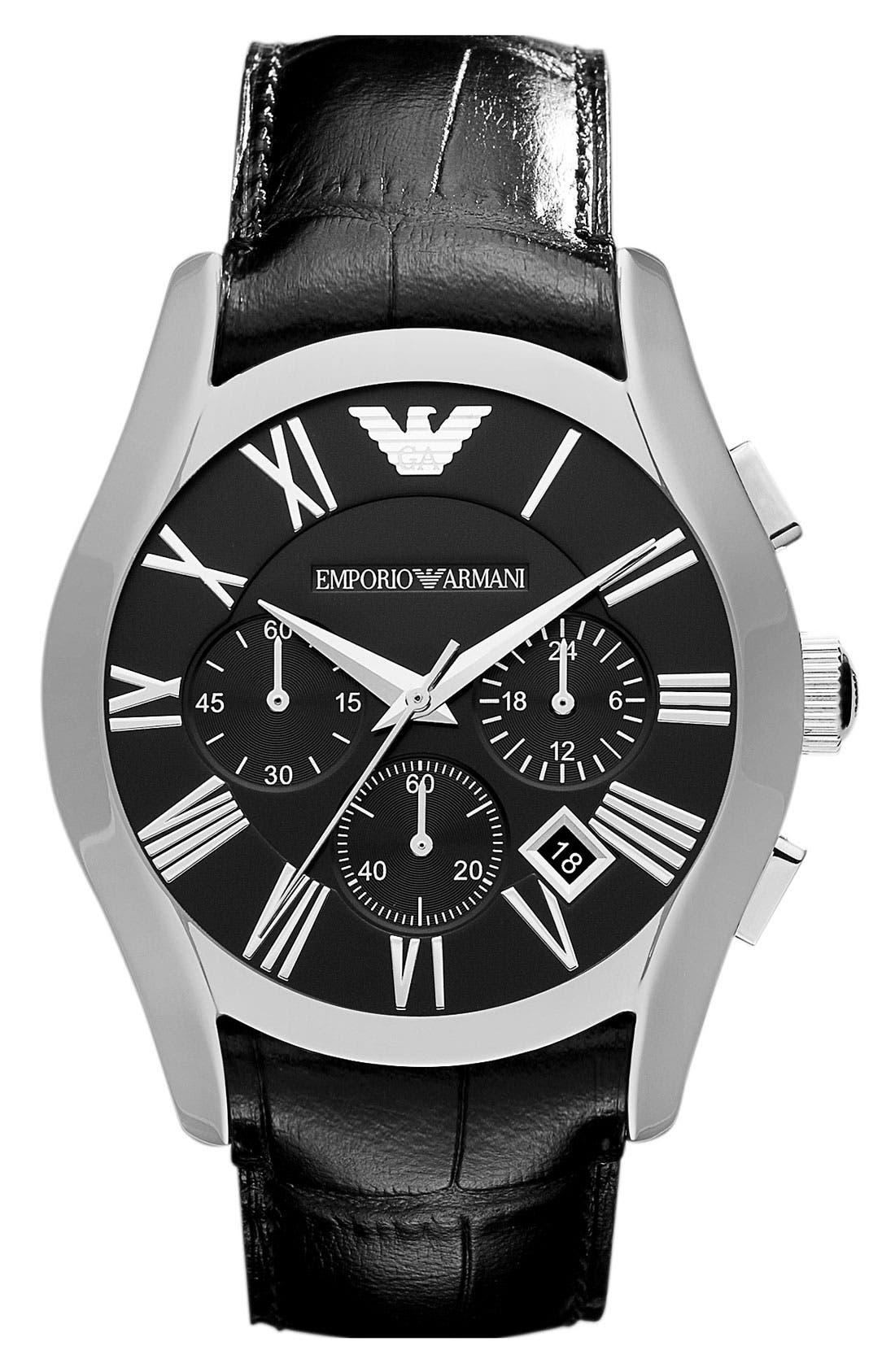 Alternate Image 1 Selected - Emporio Armani 'Classic' Round Chronograph Watch