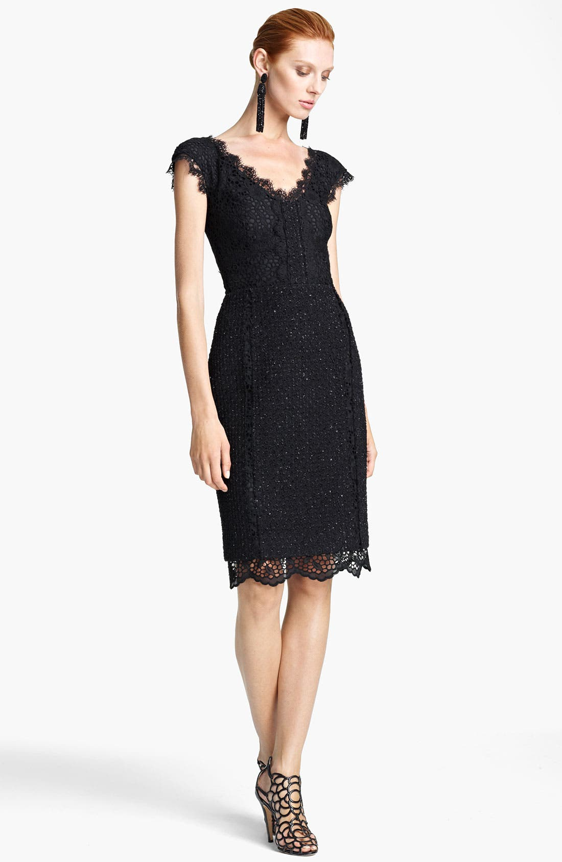 Main Image - Oscar de la Renta Off Shoulder Lace & Tweed Dress