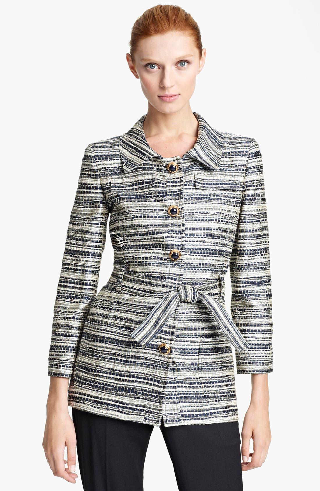 Alternate Image 1 Selected - Oscar de la Renta Belted Metallic Tweed Jacket