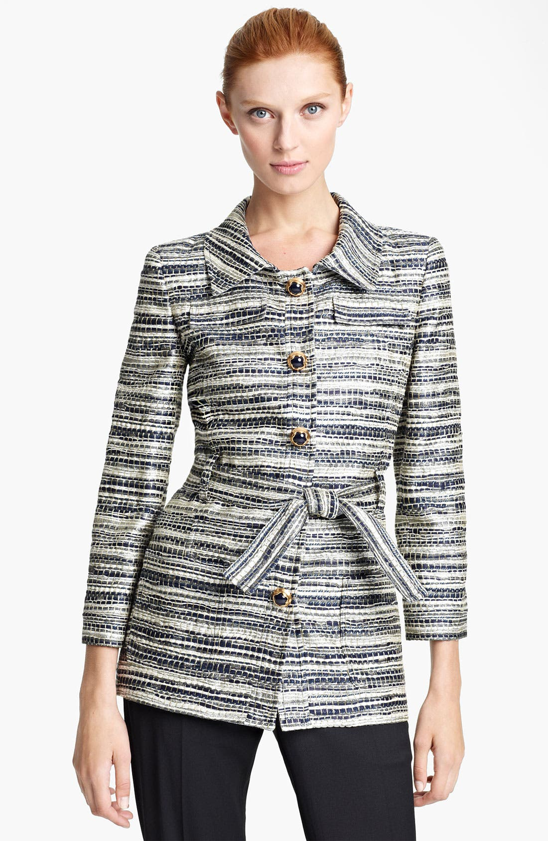 Main Image - Oscar de la Renta Belted Metallic Tweed Jacket