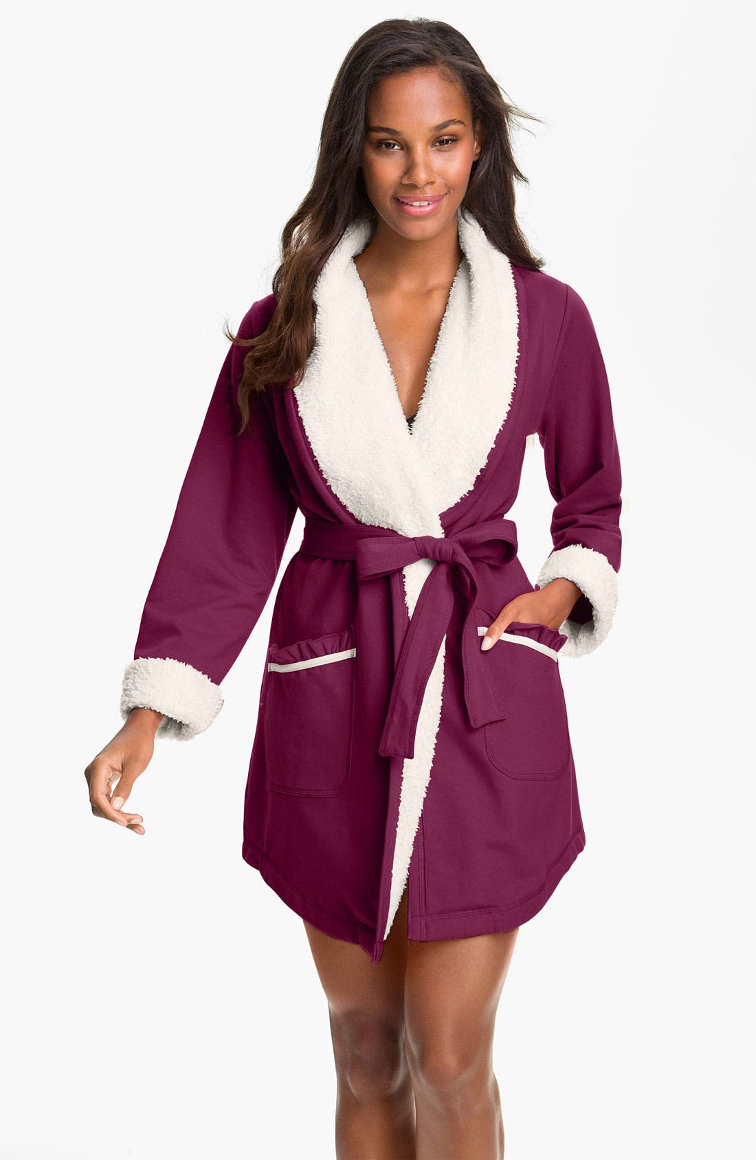 Main Image - Kensie Fleece Trim French Terry Robe