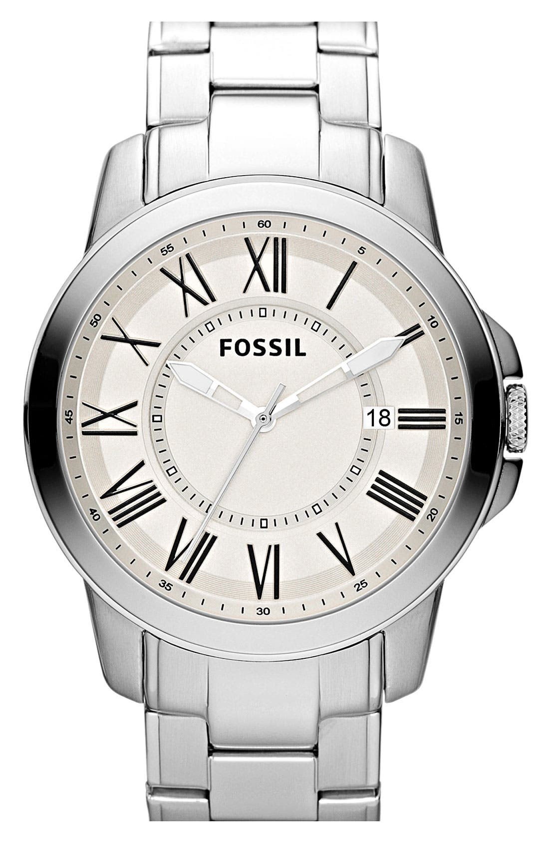 Main Image - Fossil 'Grant' Bracelet Watch, 44mm