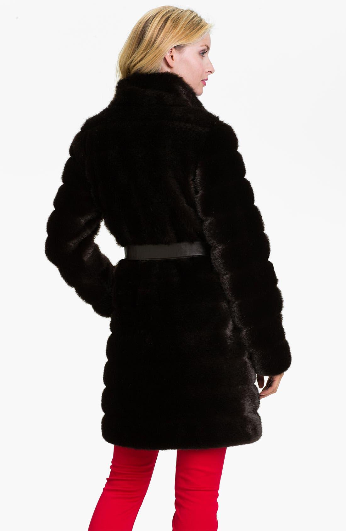 Alternate Image 2  - Kristen Blake Belted Faux Fur Coat (Online Exclusive)