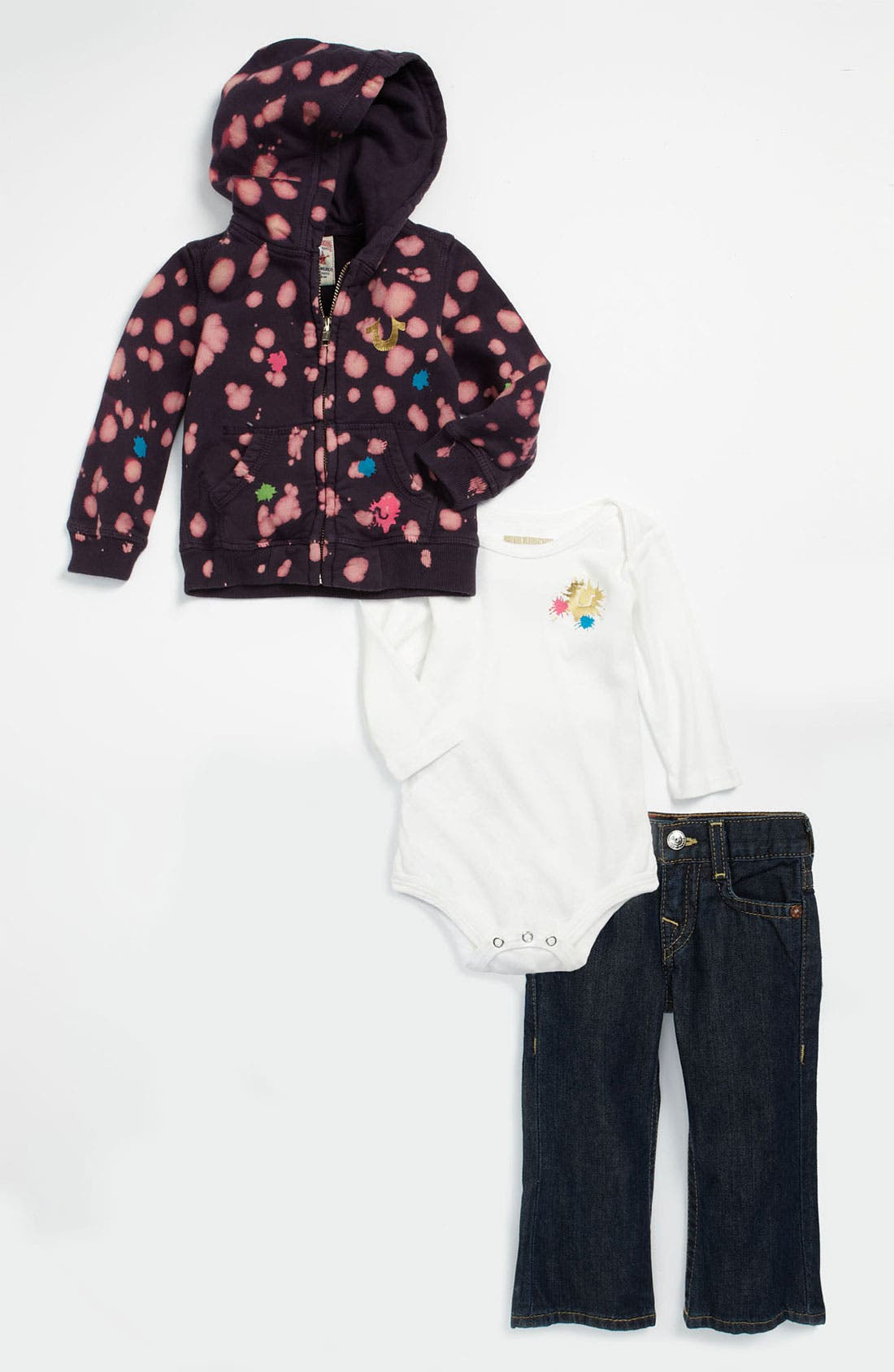 Main Image - True Religion Brand Jeans Bodysuit, Jeans & Hoodie Gift Set (Infant)