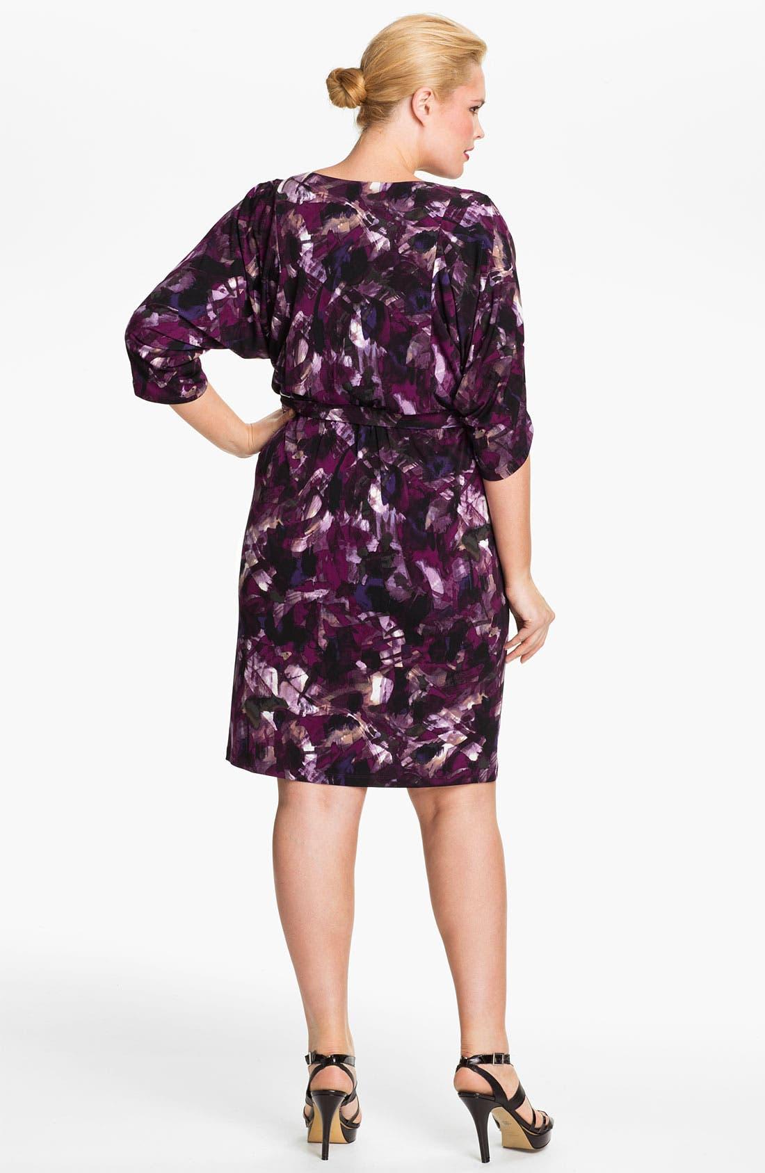 Alternate Image 2  - Eliza J Tie Waist Blouson Dress (Plus)
