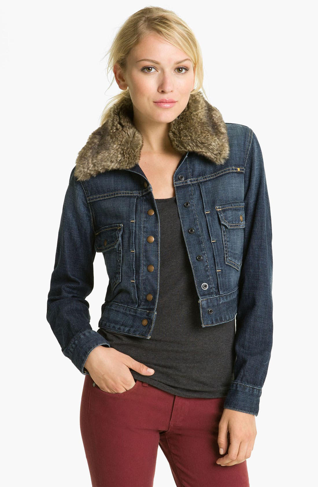 Alternate Image 1 Selected - Lucky Brand Faux Fur Collar Denim Jacket