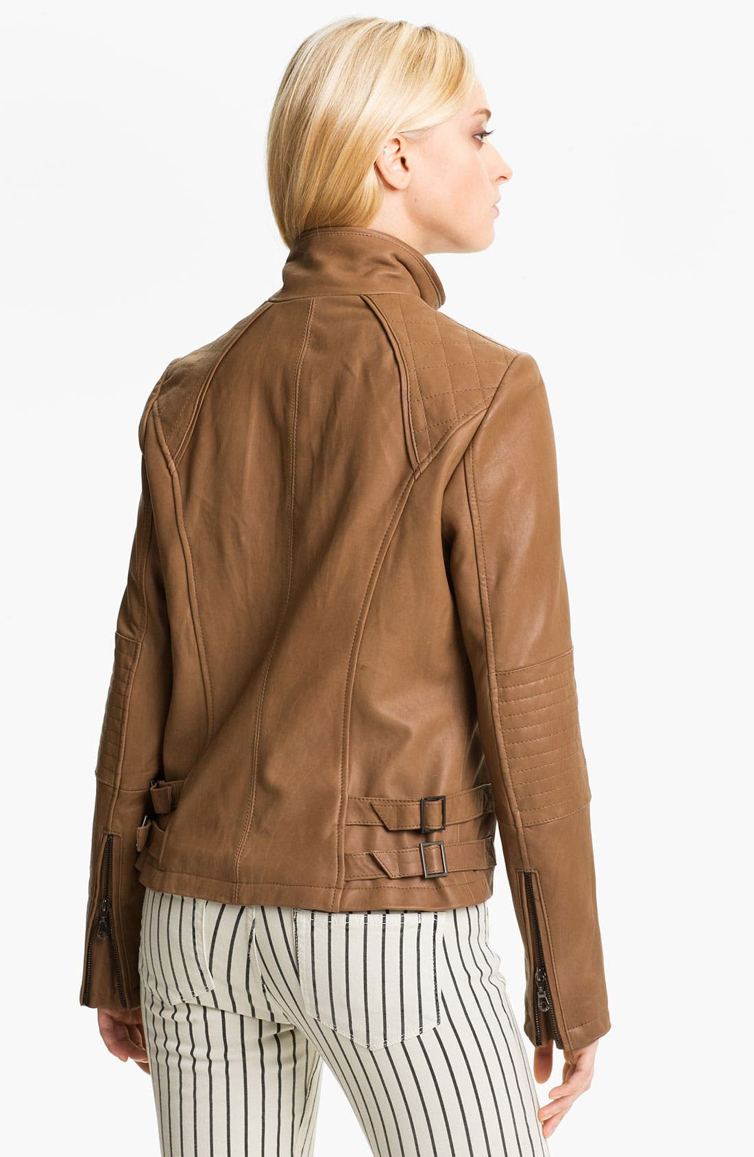 Alternate Image 2  - DKNY Leather Scuba Jacket (Petite)