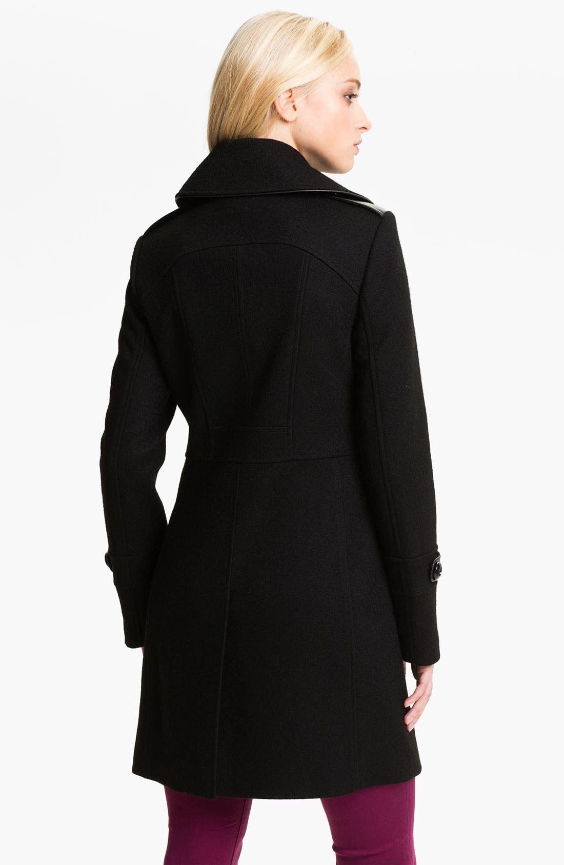 Alternate Image 2  - Kristen Blake Leather Trim Coat