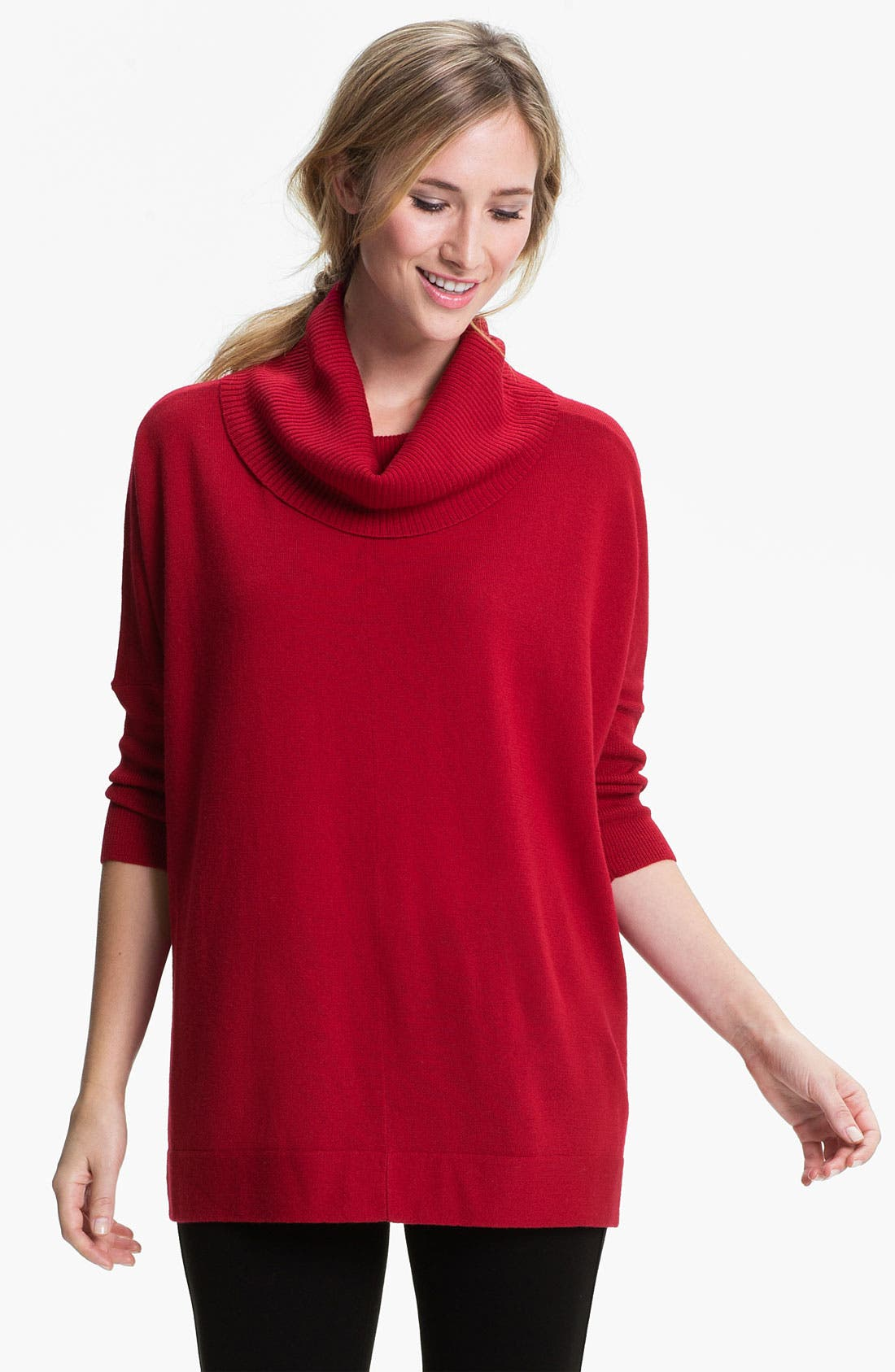 Main Image - Eileen Fisher Funnel Neck Wool Jersey Top
