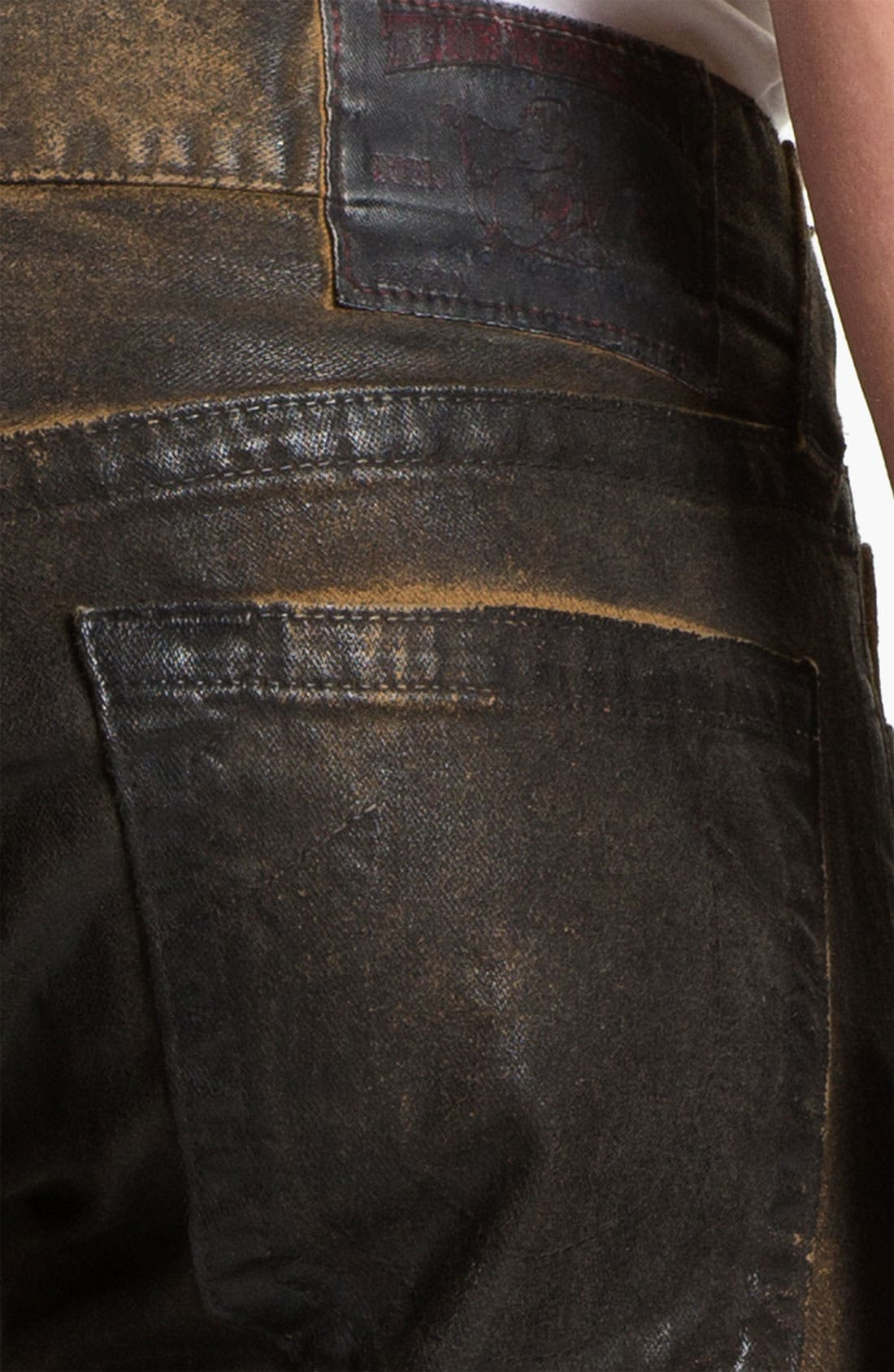 Alternate Image 4  - True Religion Brand Jeans 'Geno' Tapered Straight Leg Jeans (Crackle Coated Black Vintage)