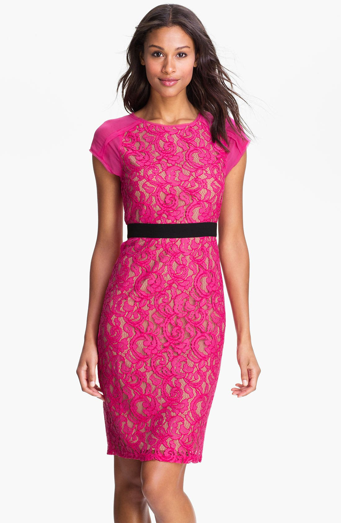 Main Image - BCBGMAXAZRIA Sheer Back Lace Sheath Dress