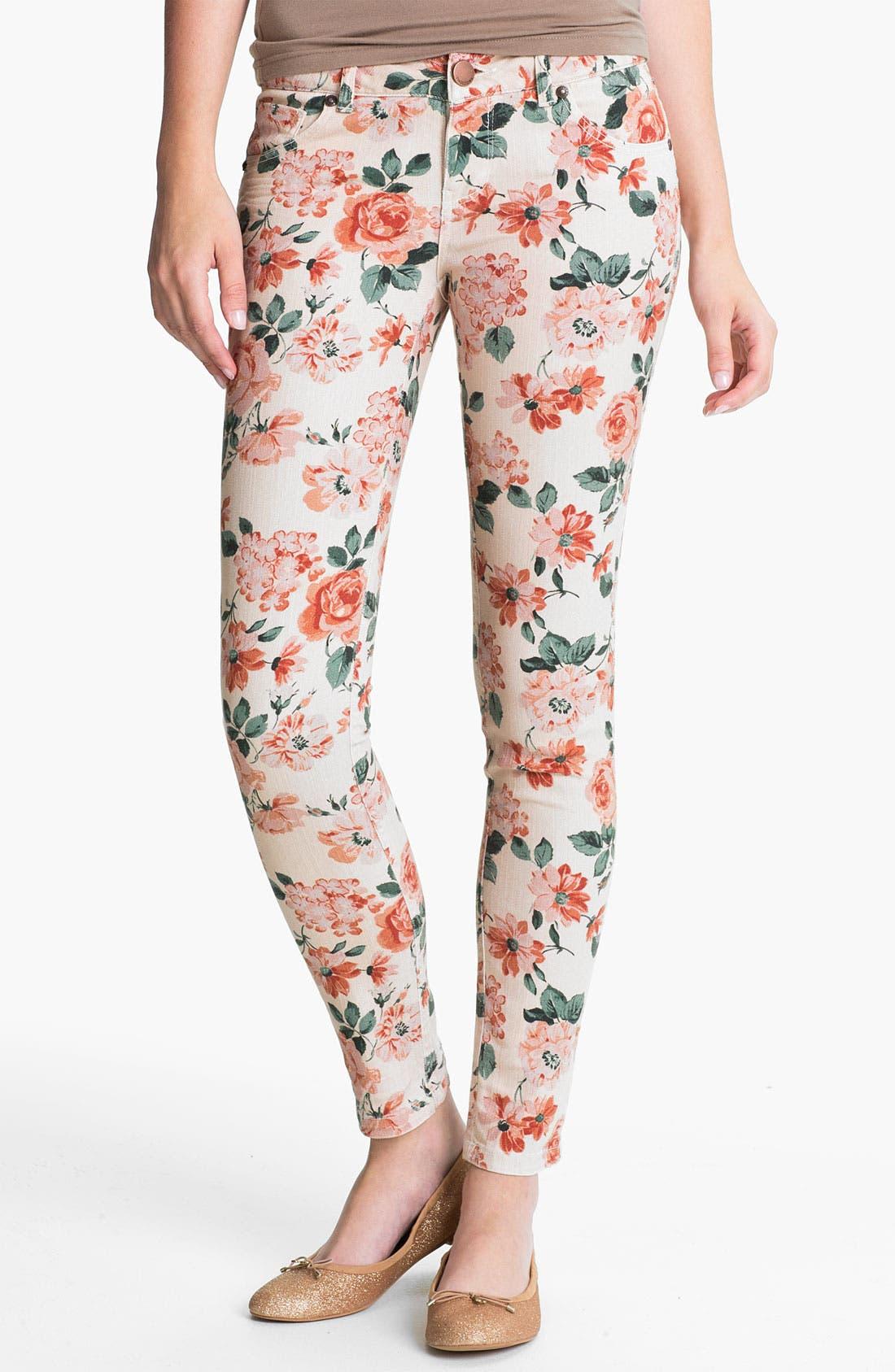 Alternate Image 2  - Fire Floral Print Skinny Jeans (Juniors)