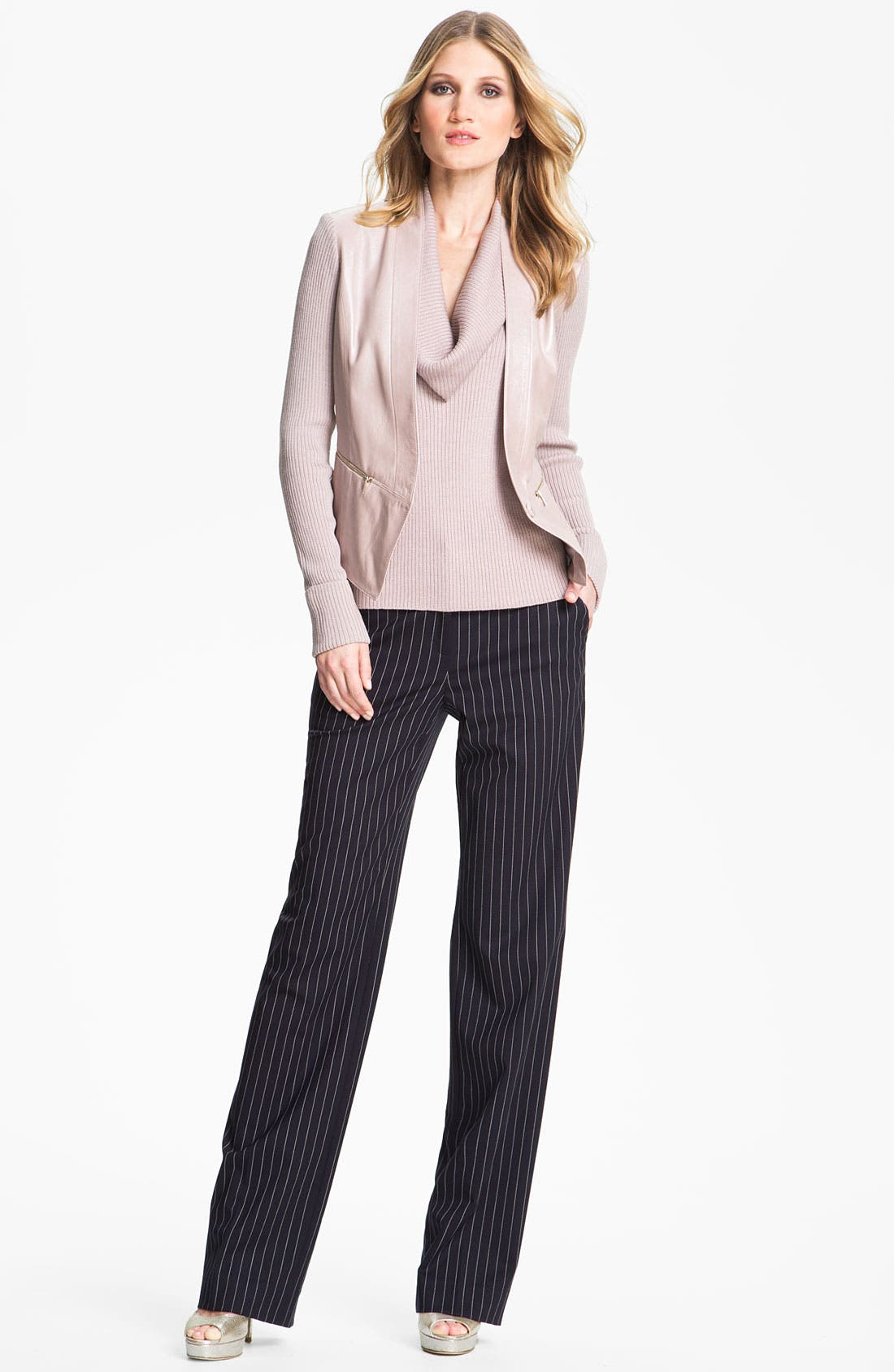 Main Image - St. John Collection 'Shelley' Pinstripe Flare Leg Pants