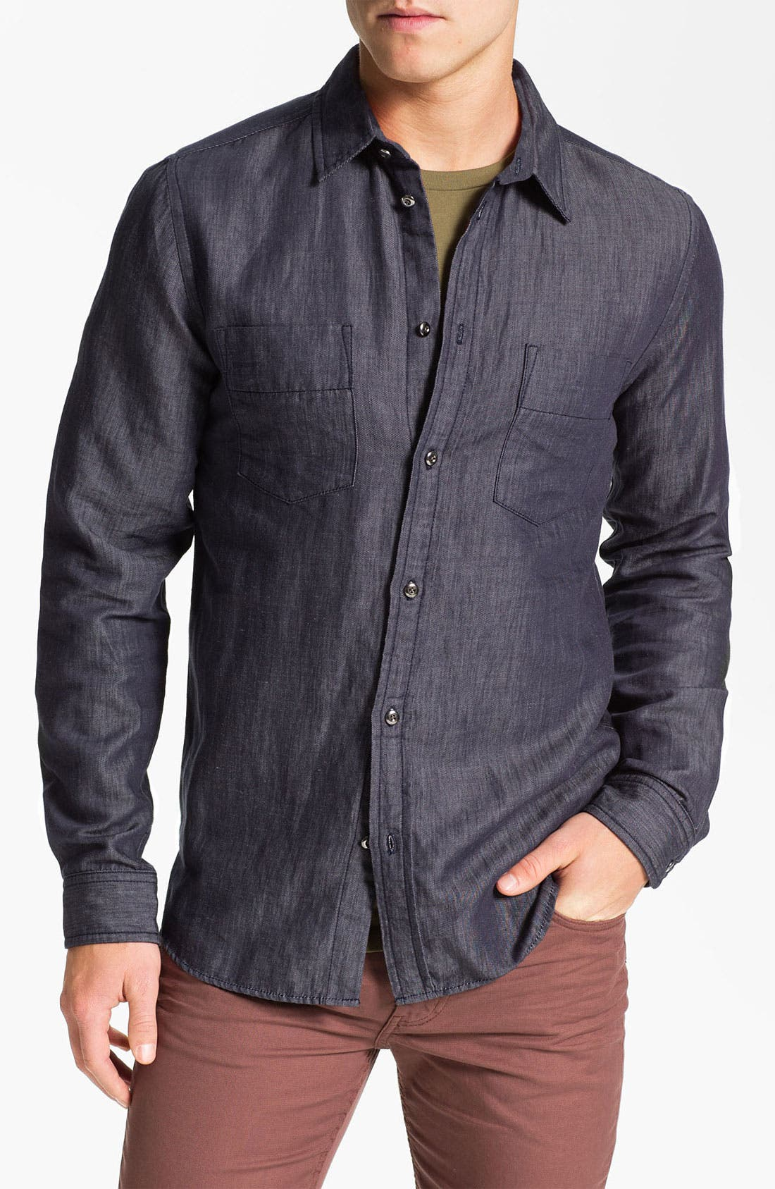 Main Image - MARC BY MARC JACOBS 'Leo' Trim Fit Chambray Shirt