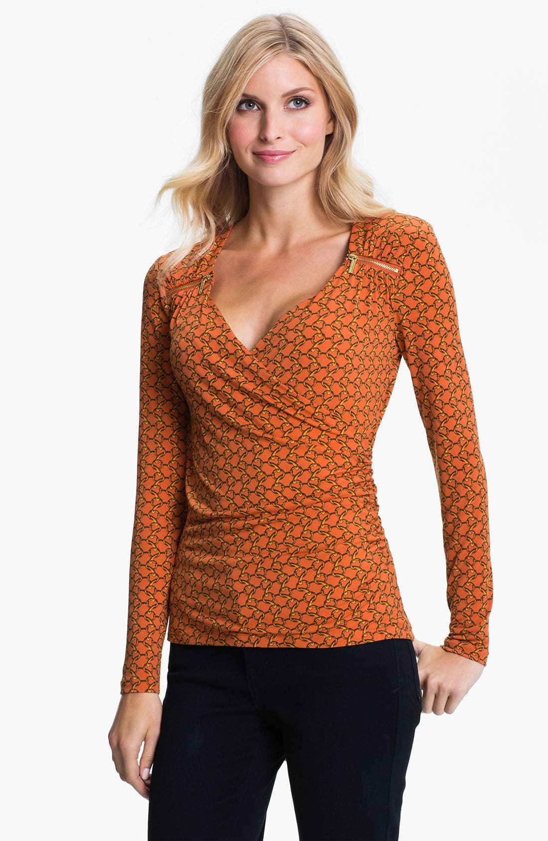 Main Image - MICHAEL Michael Kors Zip Trim Faux Wrap Top