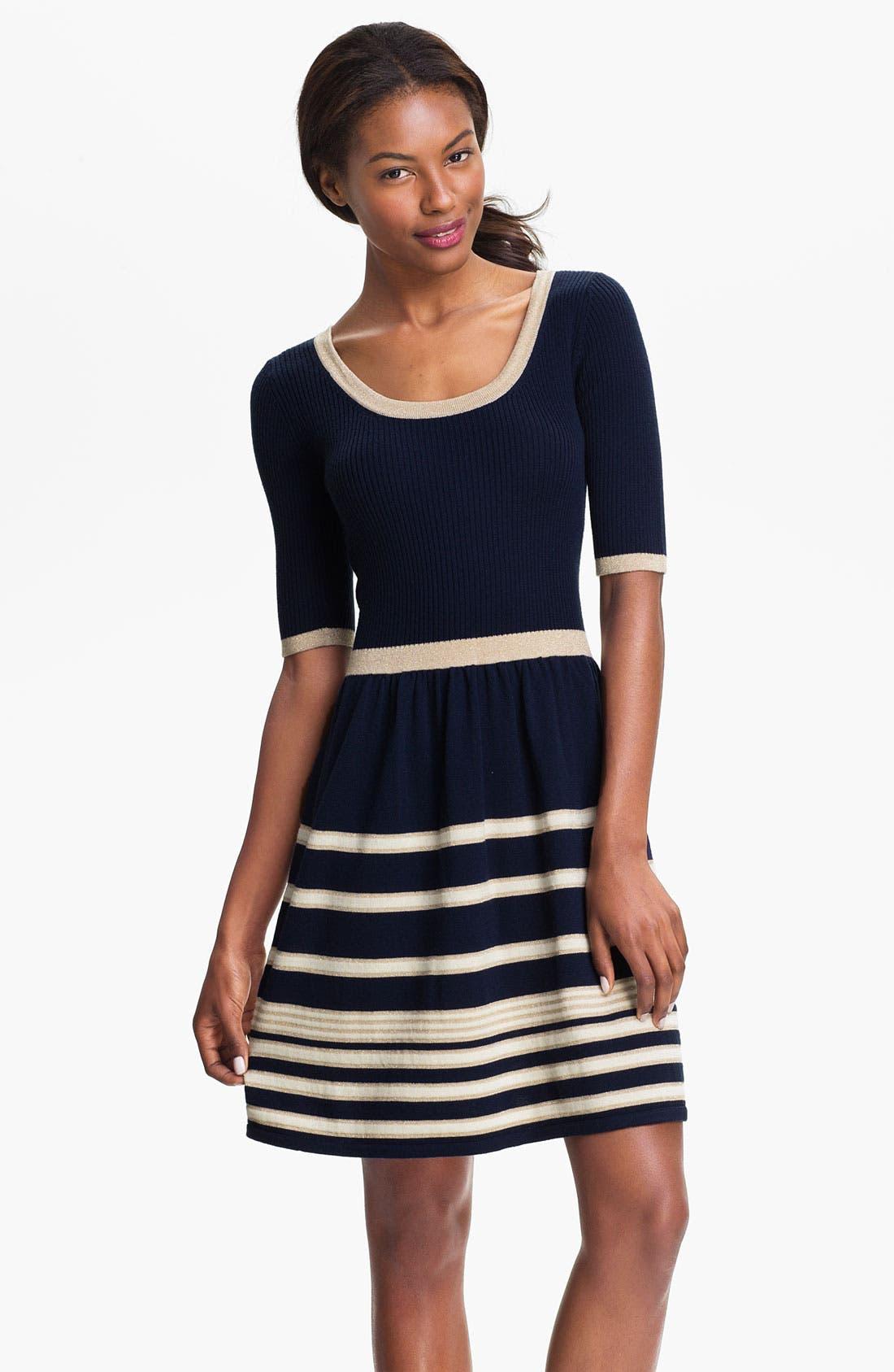 'Joanna' Fit & Flare Sweater Dress,                         Main,                         color, True Navy Stripe