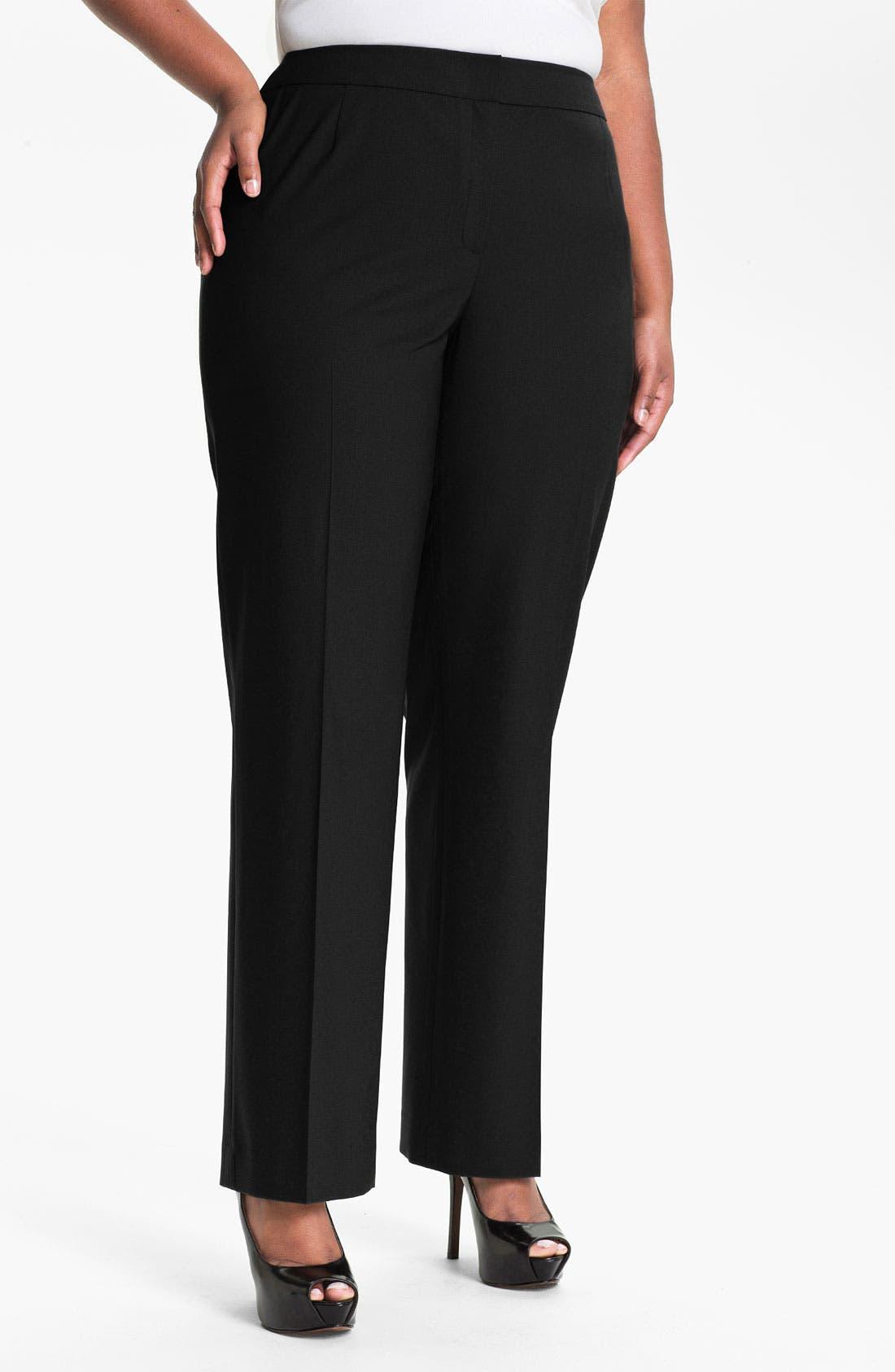 Main Image - Lafayette 148 New York 'Menswear' Trousers (Plus Size)