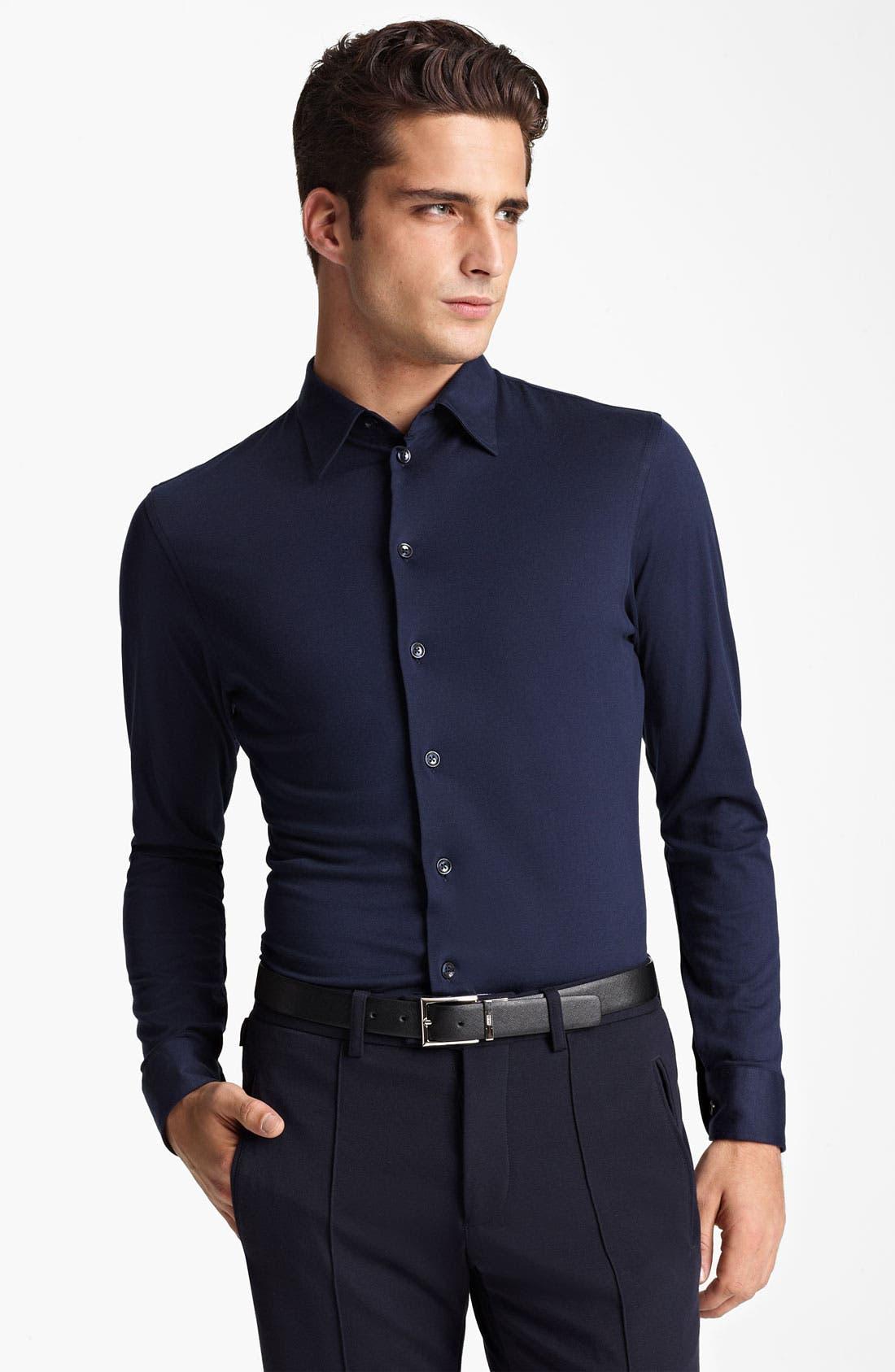 Alternate Image 1 Selected - Armani Collezioni Jersey Cotton Sport Shirt