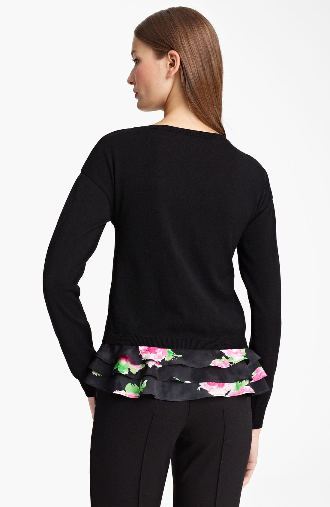 Alternate Image 2  - Moschino Cheap & Chic Rose Print Ruffled Hem Top