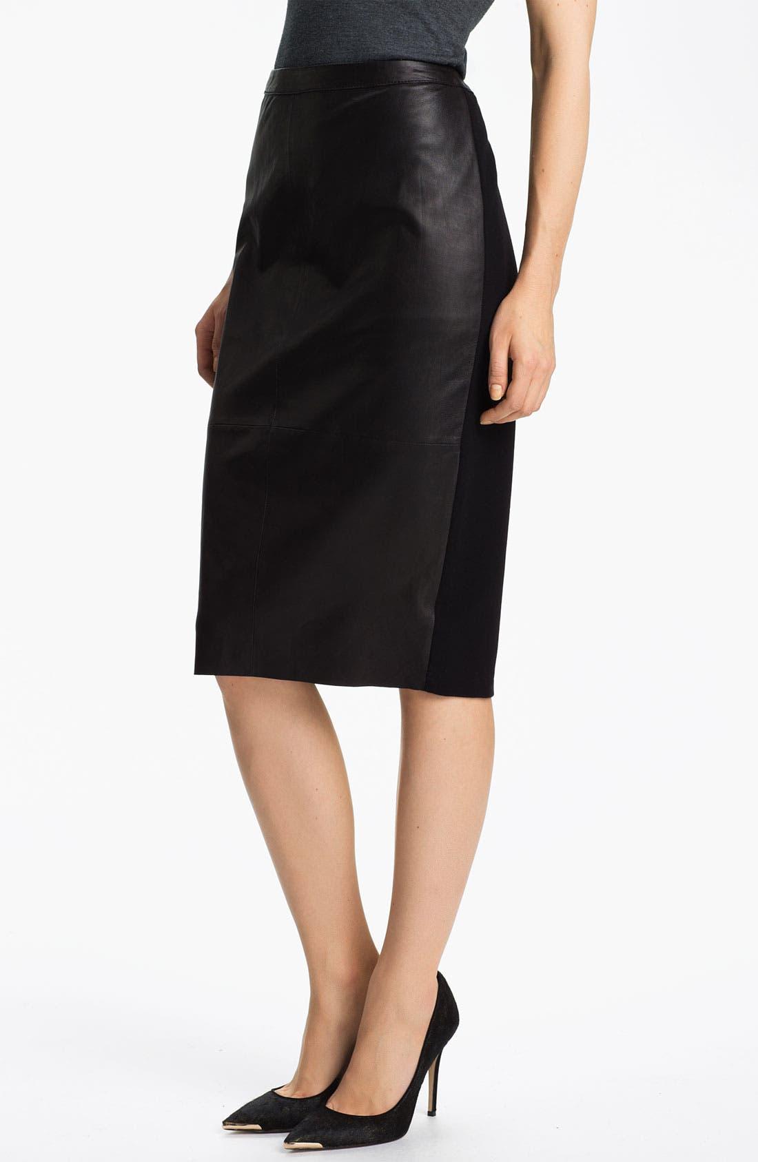 Main Image - Trouvé Leather Panel Pencil Skirt